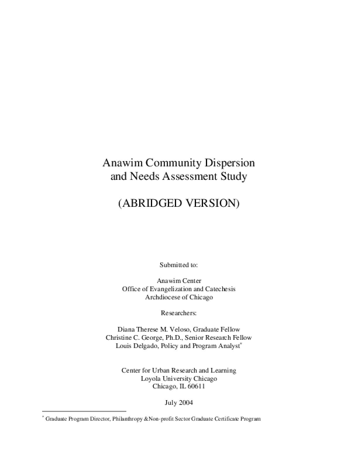 Anawim Community Dispersion and Needs Assessment Study (Abridged Version))