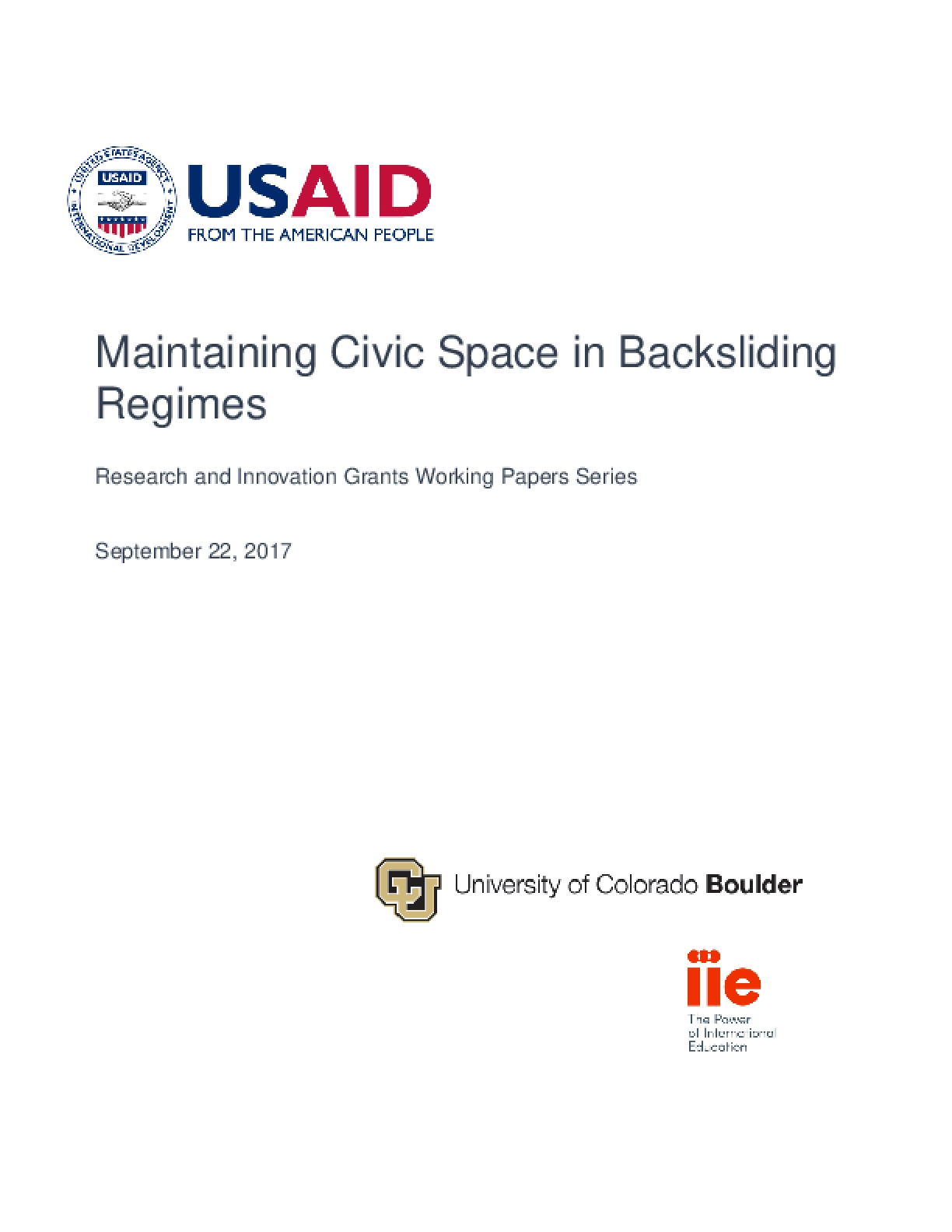 Maintaining Civic Space in Backsliding Regimes (2017)