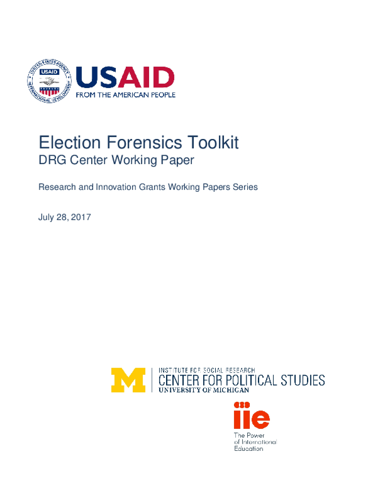 Election Forensics Toolkit DRG Center Working Paper