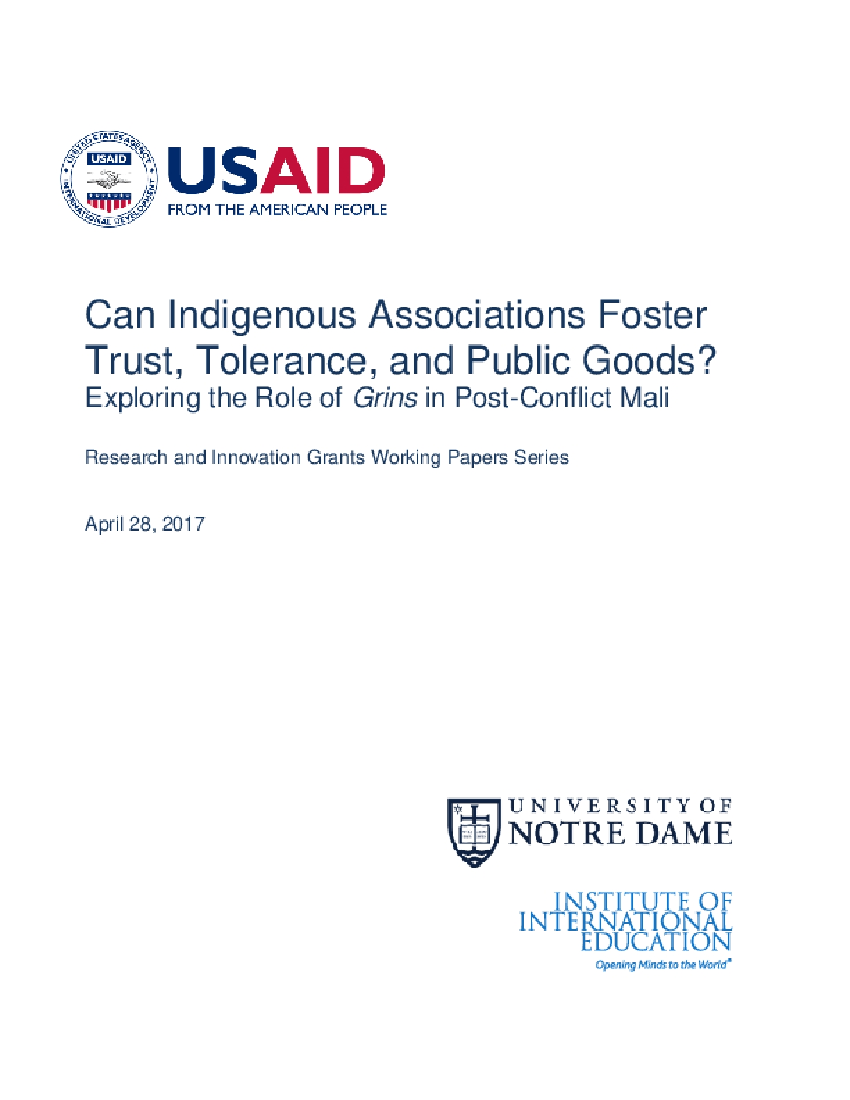 Can Indigenous Associations Foster Trust, Tolerance, and Public Goods? Exploring the Role of Grins in Post-Conflict Mali