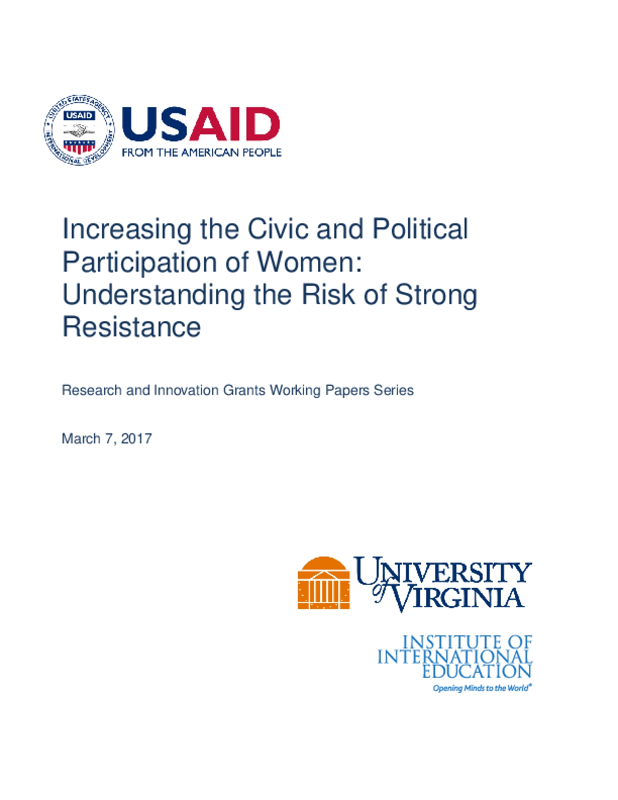 Increasing the Civic and Political Participation of Women (2017)
