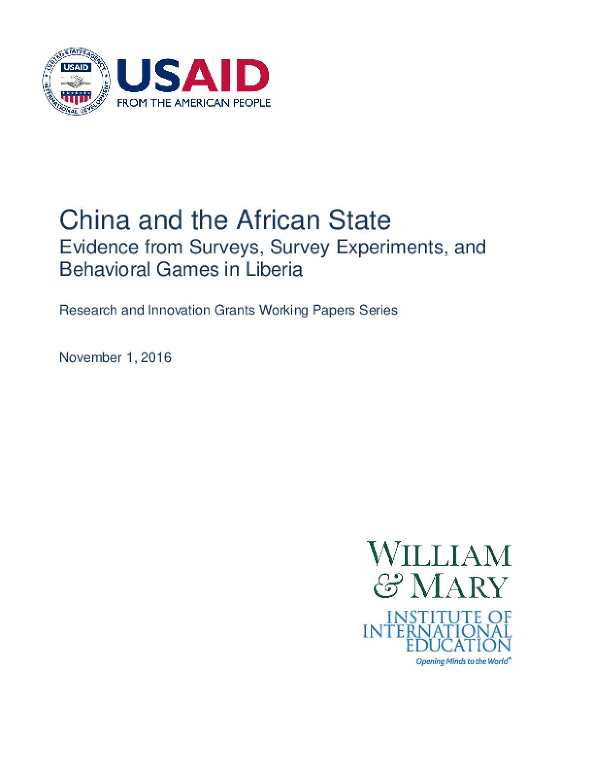 China and the African State: Evidence from Surveys, Survey Experiments, and Behavioral Games in Liberia