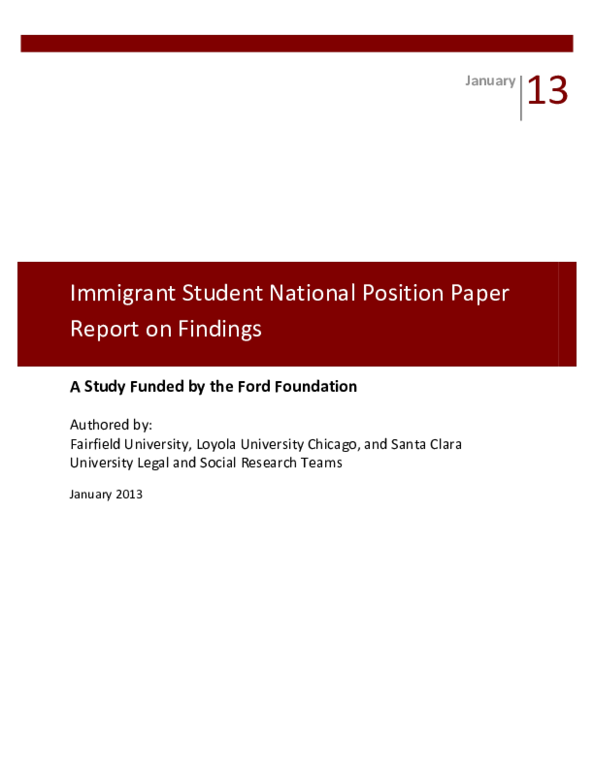 Immigrant Student National Position Paper Report on Findings