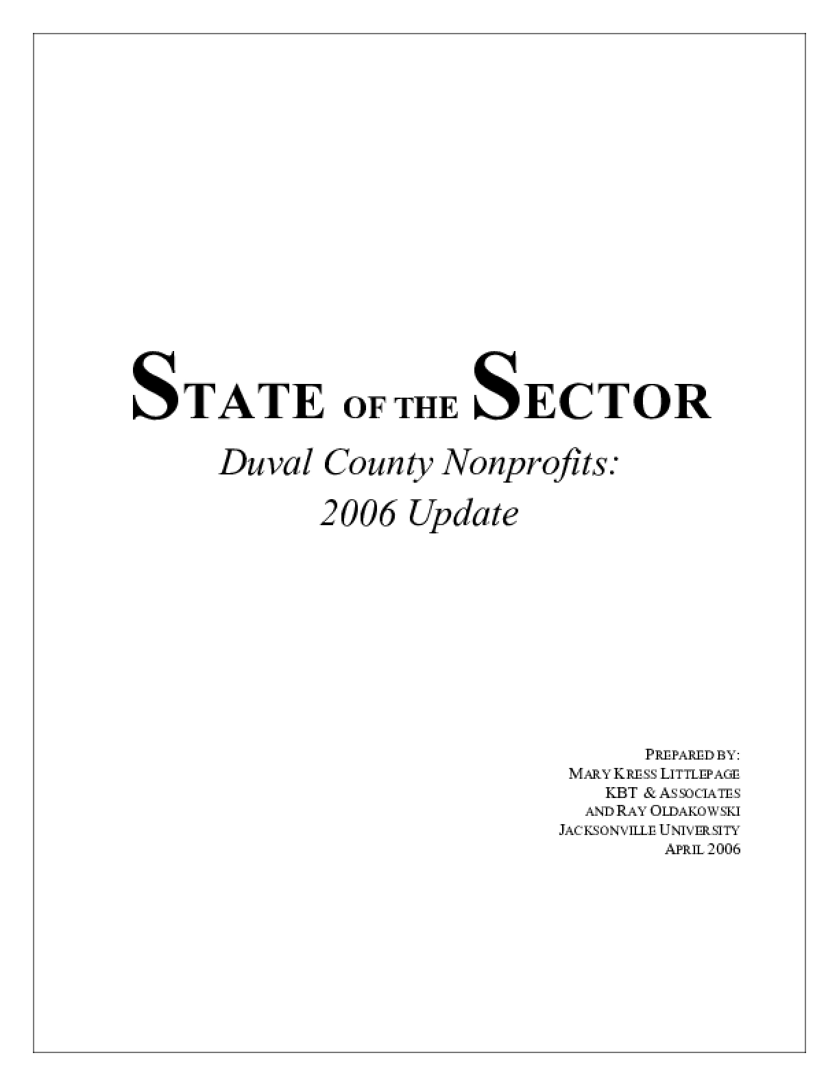 State of the Sector: Duval County Nonprofits - 2006 Update