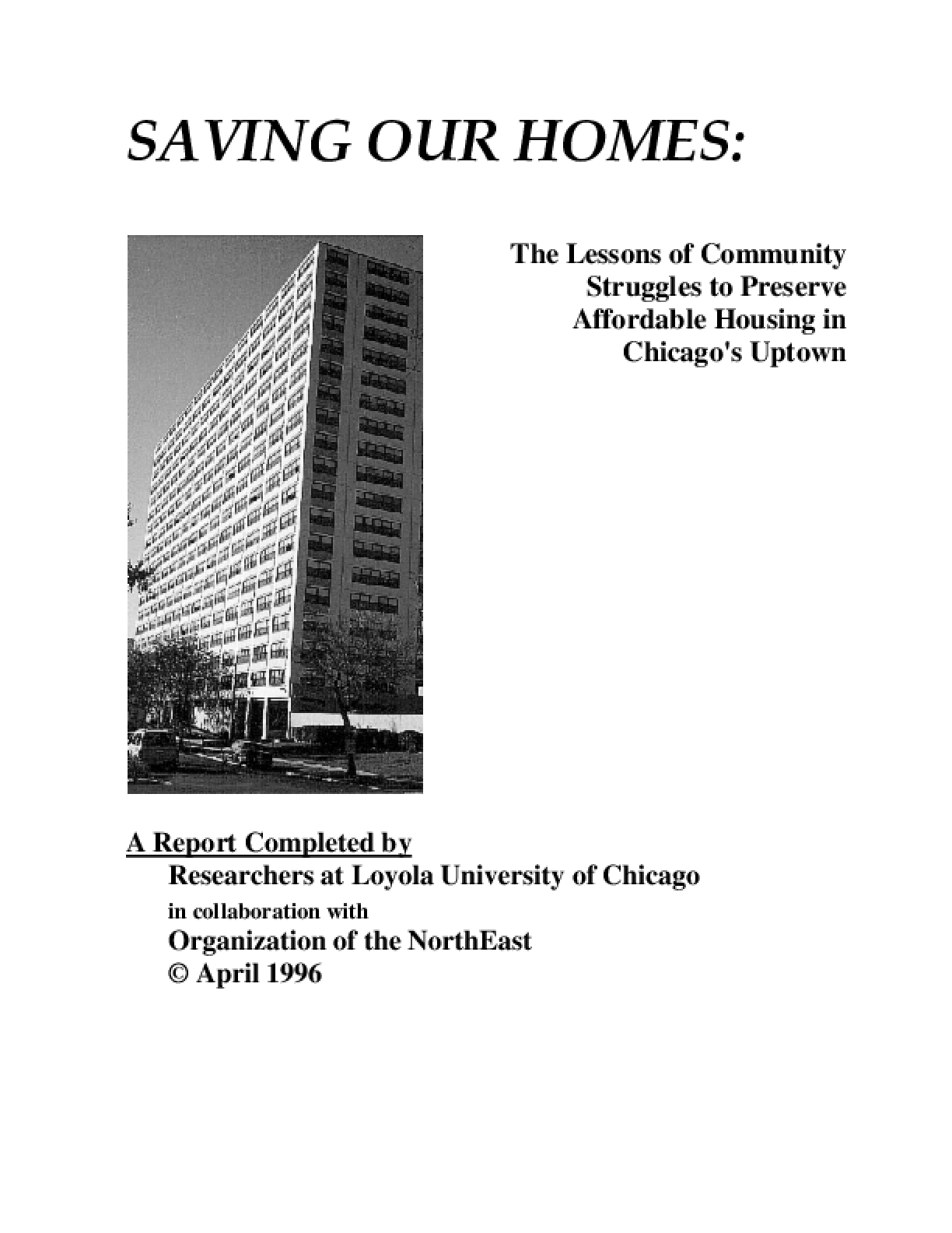 Saving Our Homes: The Lessons of Community Struggles to Preserve Affordable Housing in Chicago's Uptown