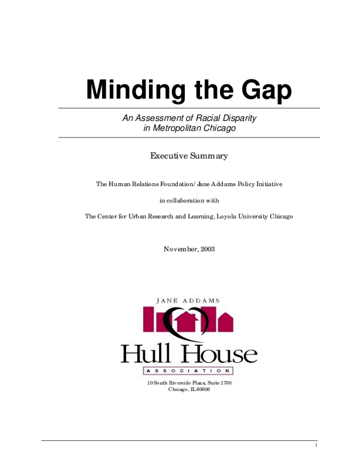 Minding the Gap: An Assessment of Racial Disparity in Metropolitan Chicago - Executive Summary