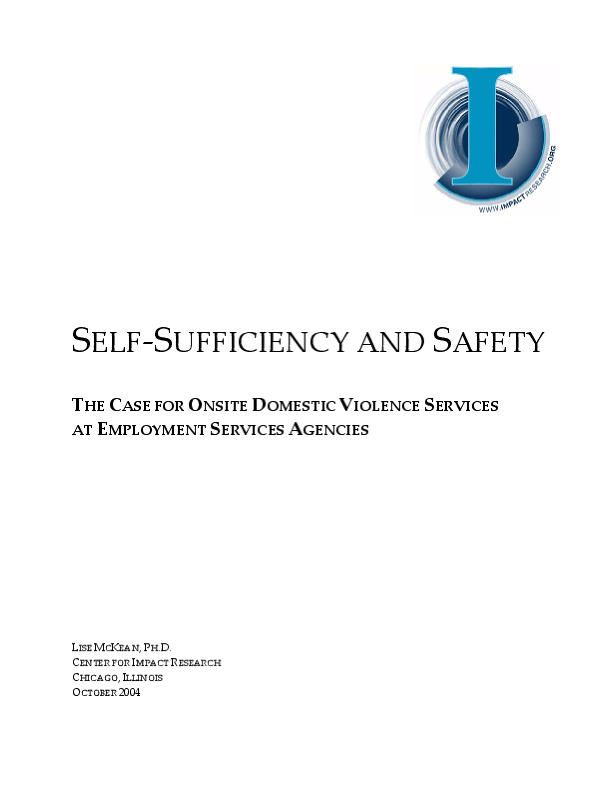 Self-Sufficiency and Safety: The Case for Onsite Domestic Violence Services at Employment Services Agencies