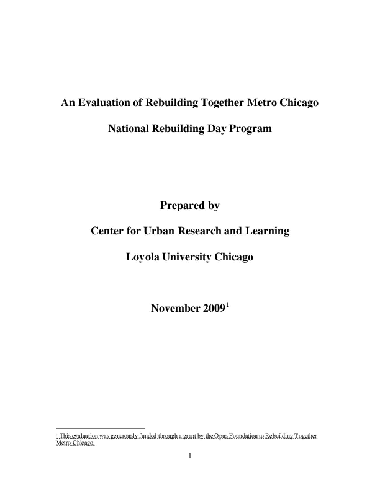 An Evaluation of Rebuilding Together Metro Chicago National Rebuilding Day Program