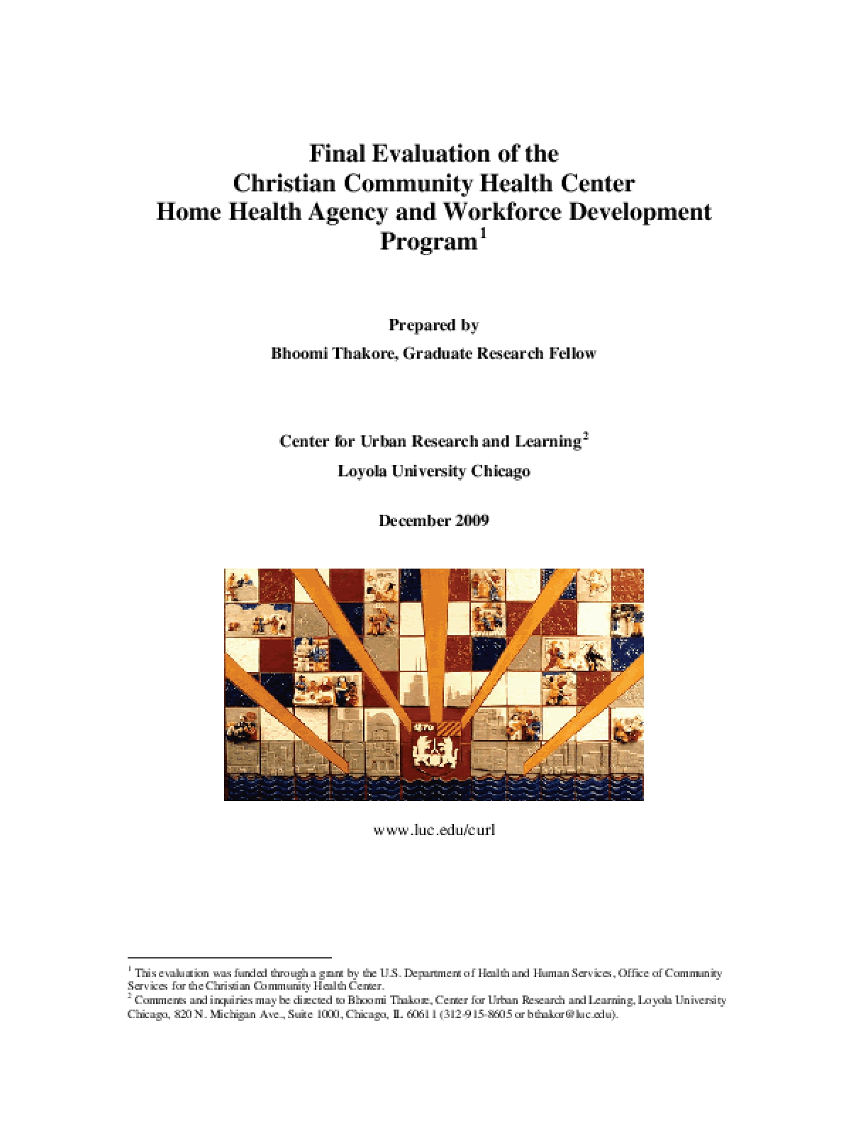 Final Evaluation of the Christian Community Health Center Home Health Agency and Workforce Development Program