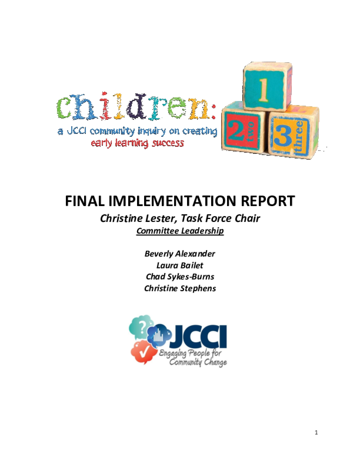 Children: A JCCI Community Inquiry on Creating Early Learning Success - Final Implementation Report