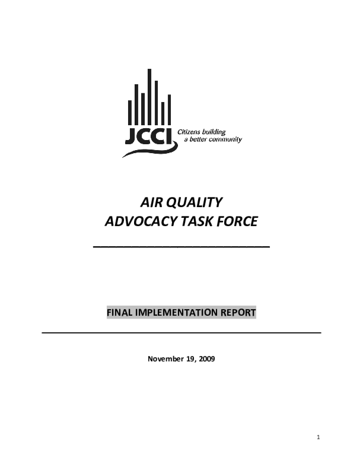 Air Quality Advocacy Task Force: Final Implementation Report