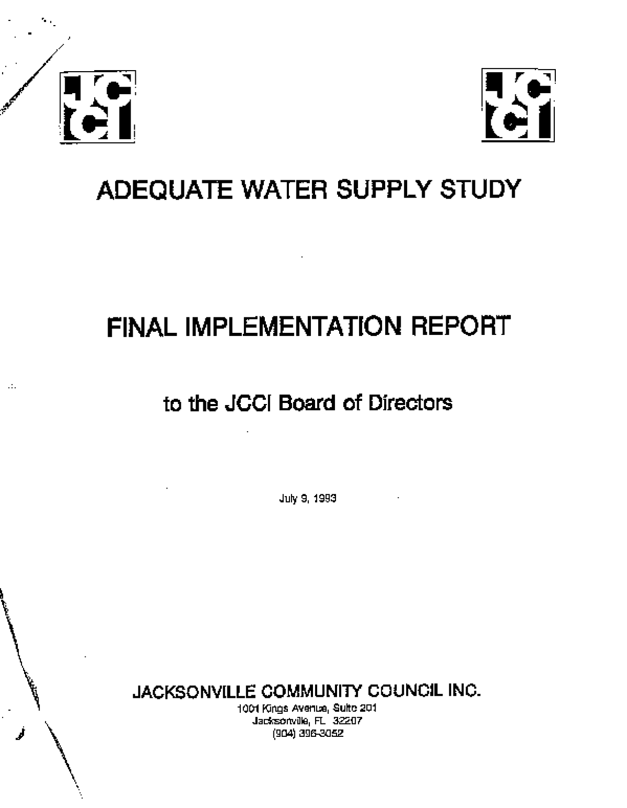 Adequate Water Supply Study: Final Implementaton Report to the JCCI Board of Directors