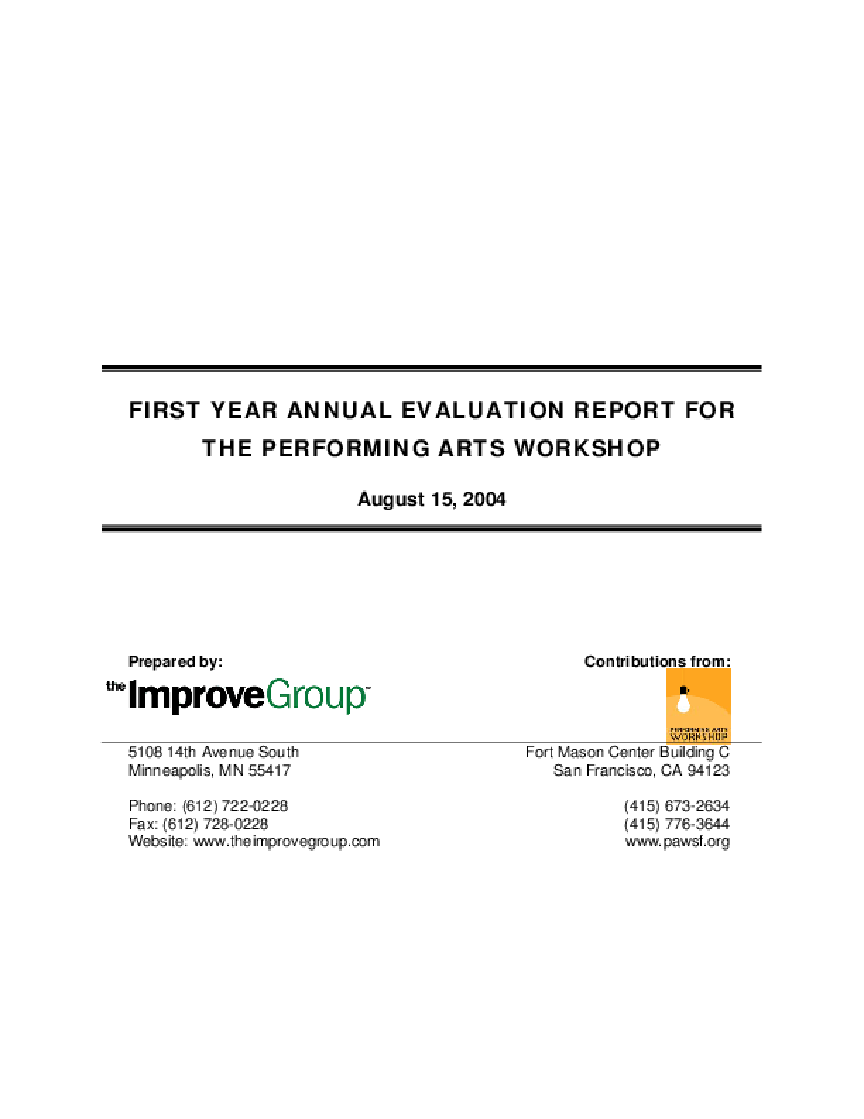Artists-In-Schools (AIS) First-Year Annual Evaluation Report for the U.S. Dept. of Education (2003-04)