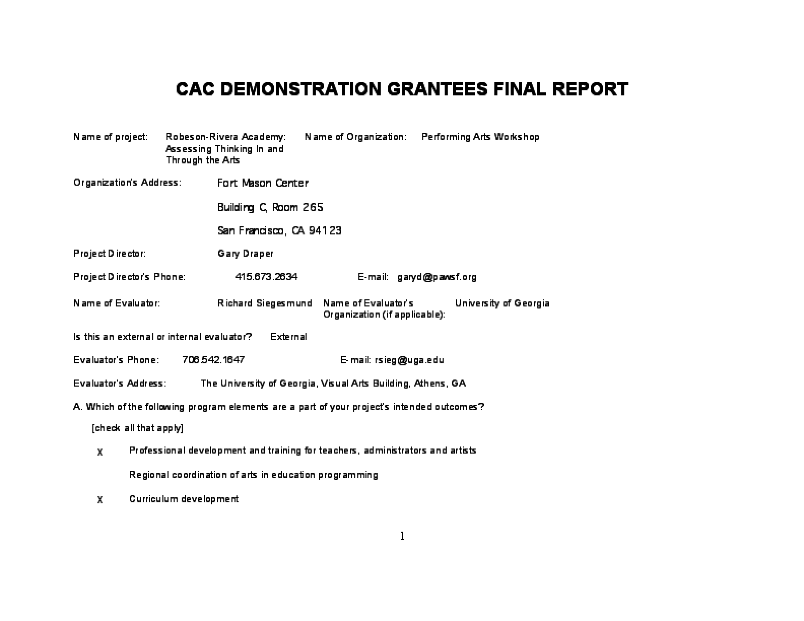 First-Year Demonstration Project Report for the CAC (2001-02)