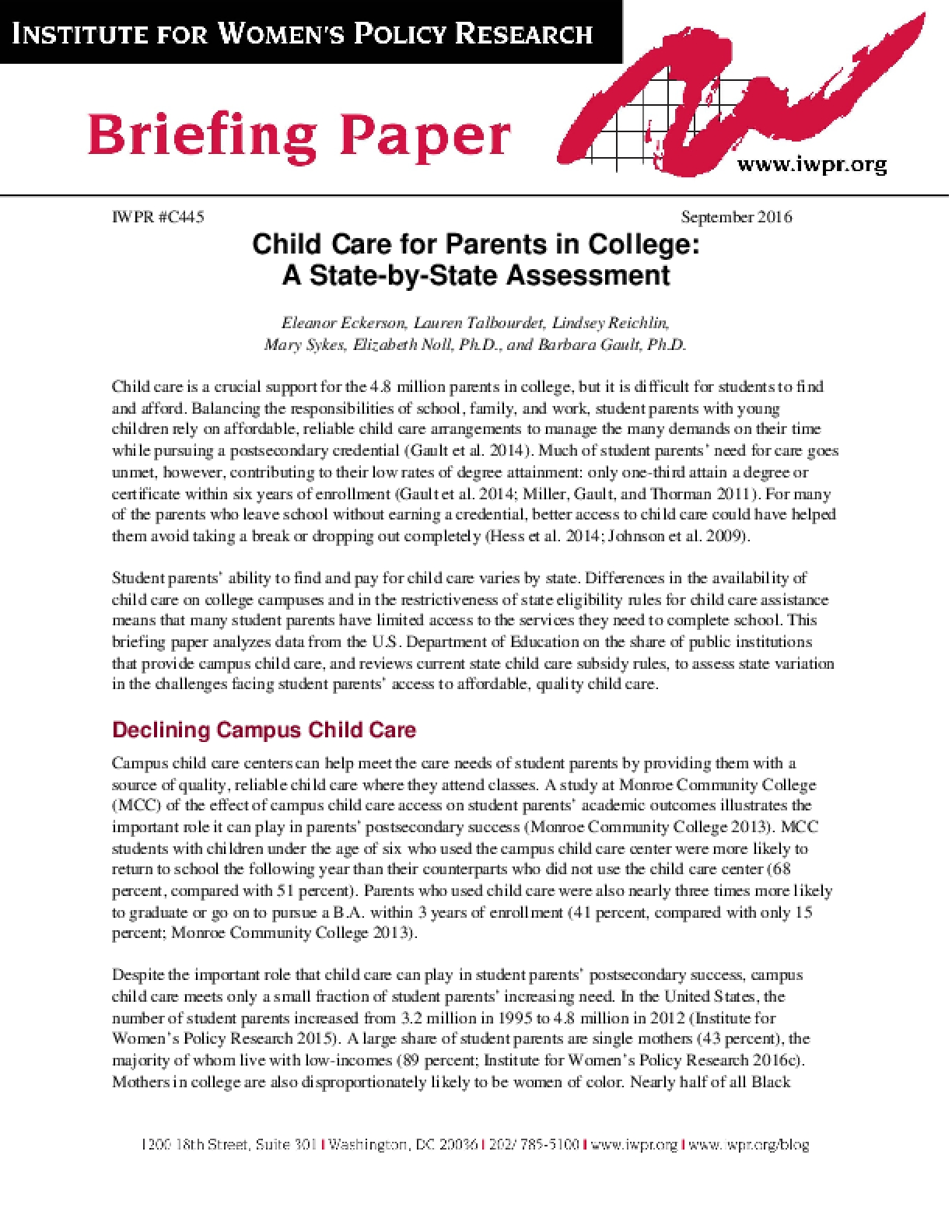 Child Care for Parents in College: A State-by-State Assessment