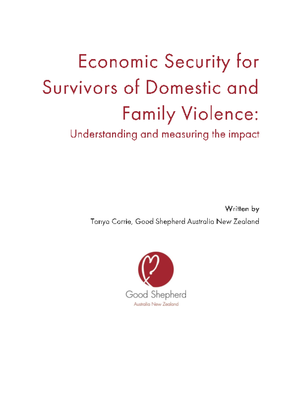 Economic Security for Survivors of Domestic and Family Violence: Understanding and Measuring the Impact