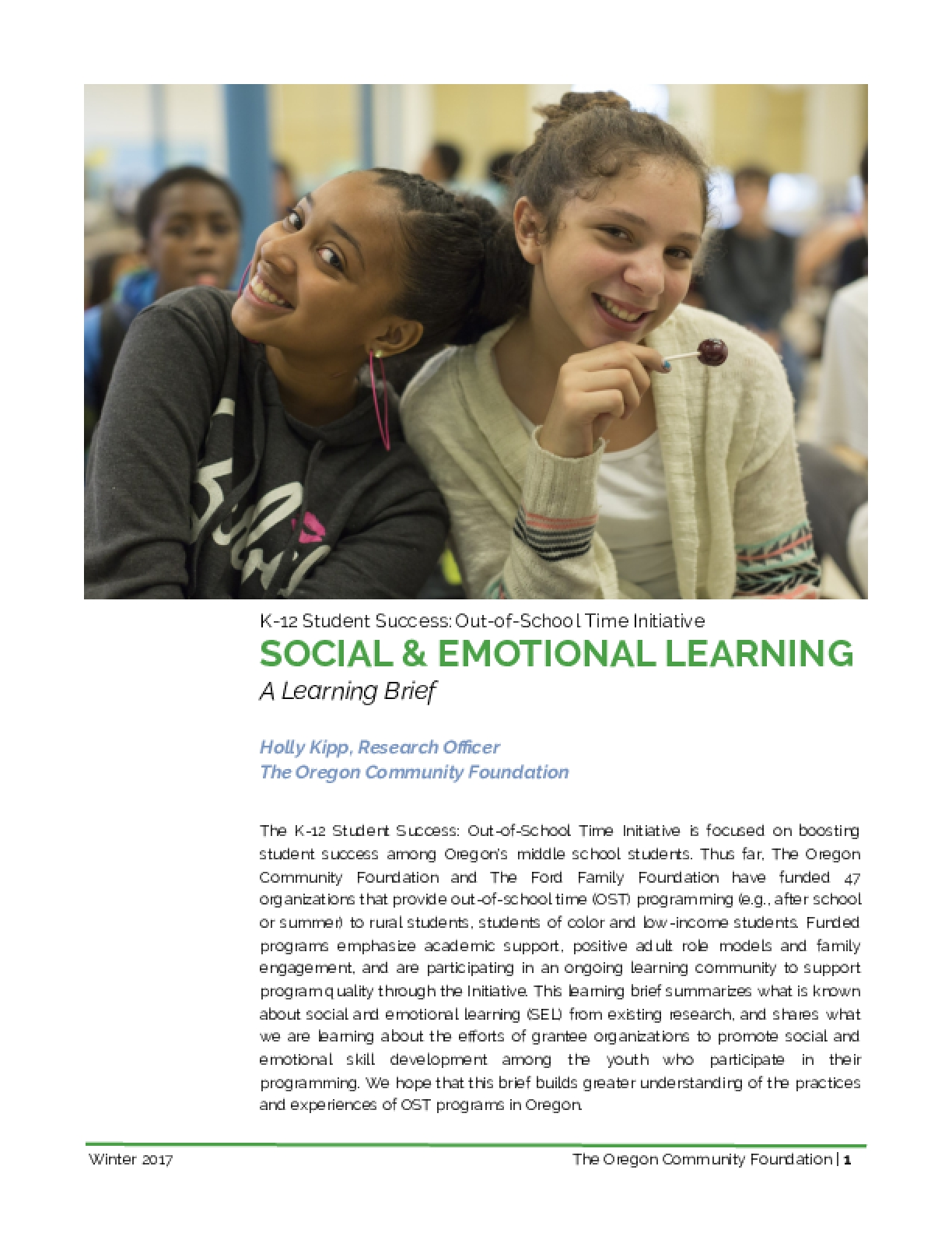 Social & Emotional Learning A Learning Brief