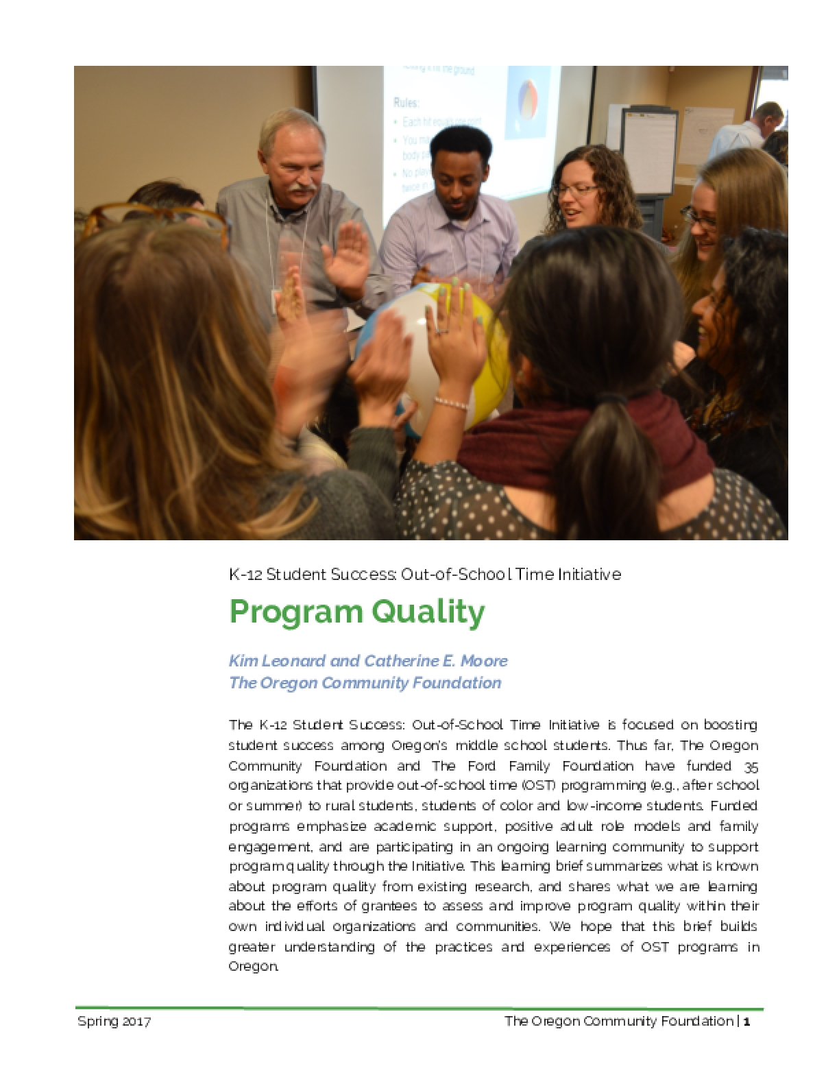 K-12 Student Success: Out-of-School Time Initiative Program Quality