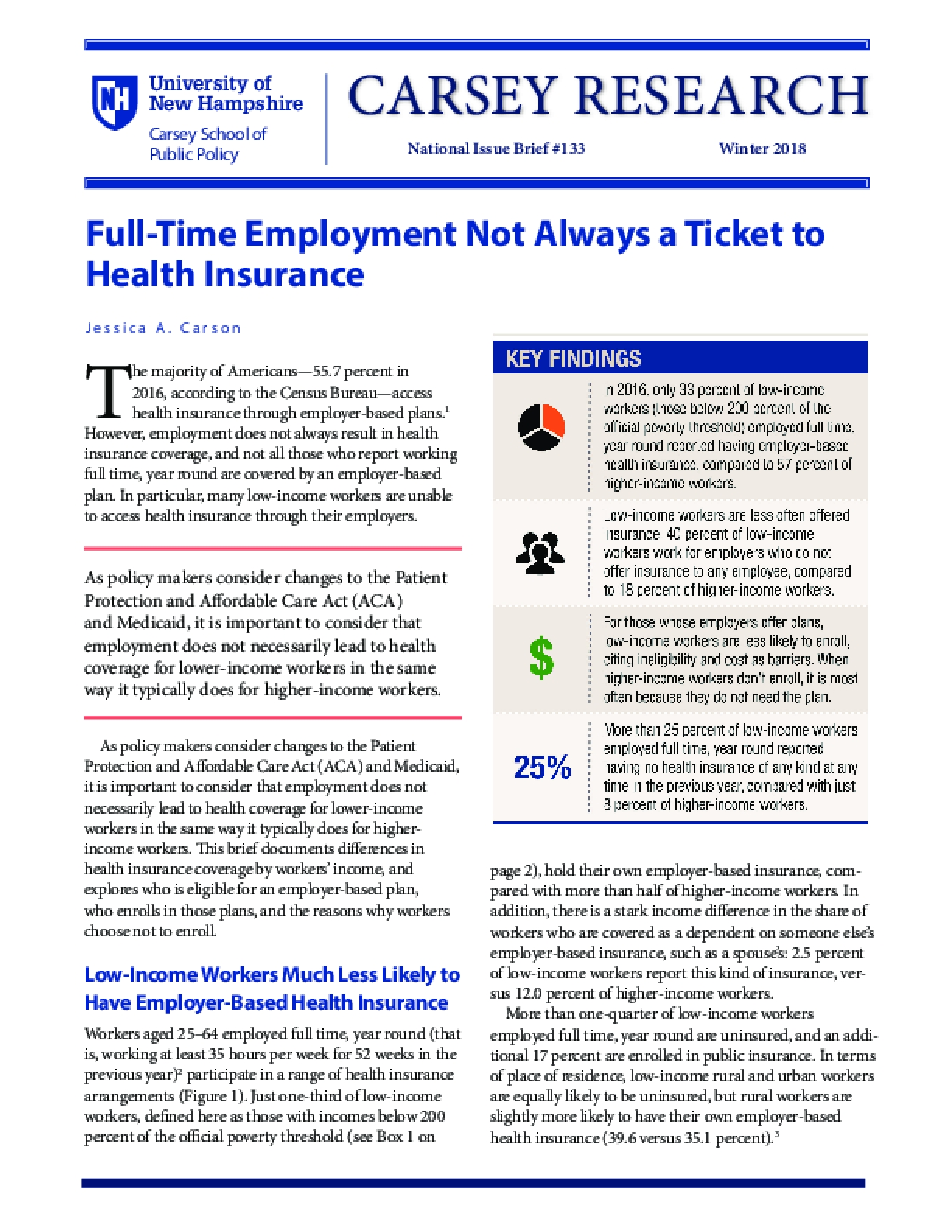 Full-Time Employment Not Always a Ticket to Health Insurance