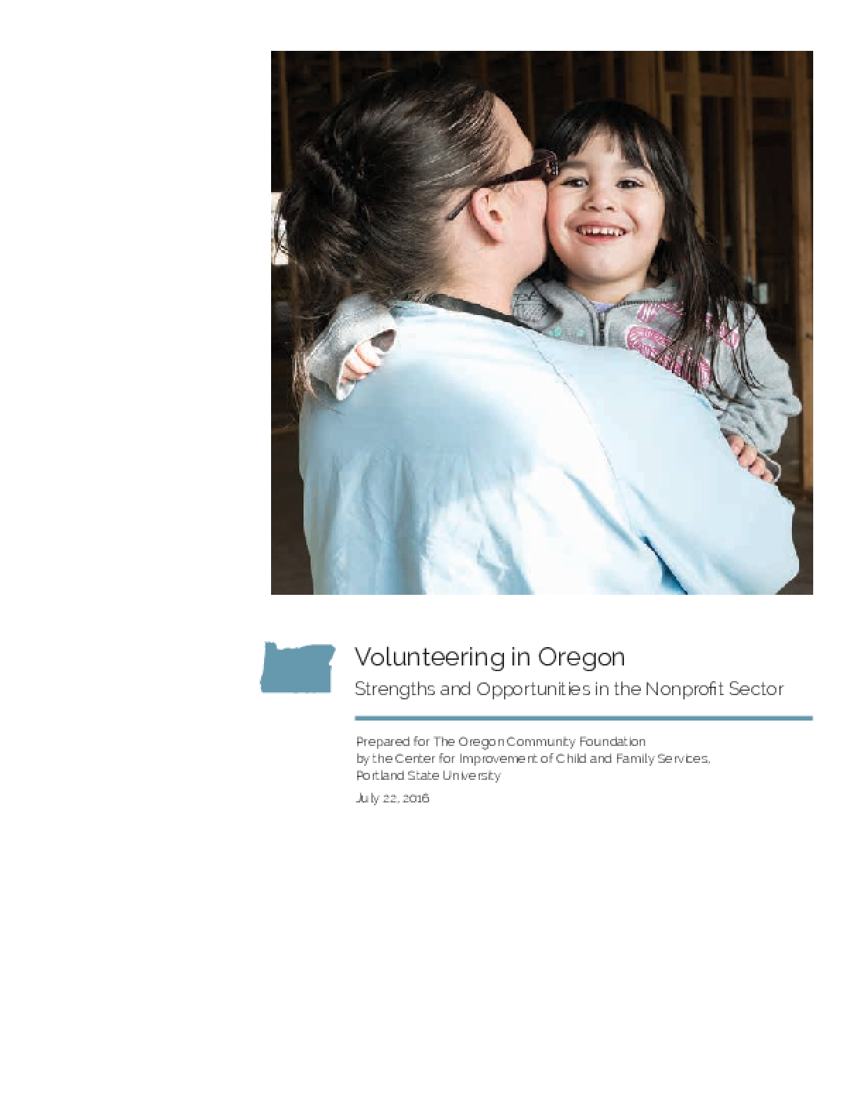 Volunteering in Oregon Strengths and Opportunities in the Nonprofit Sector