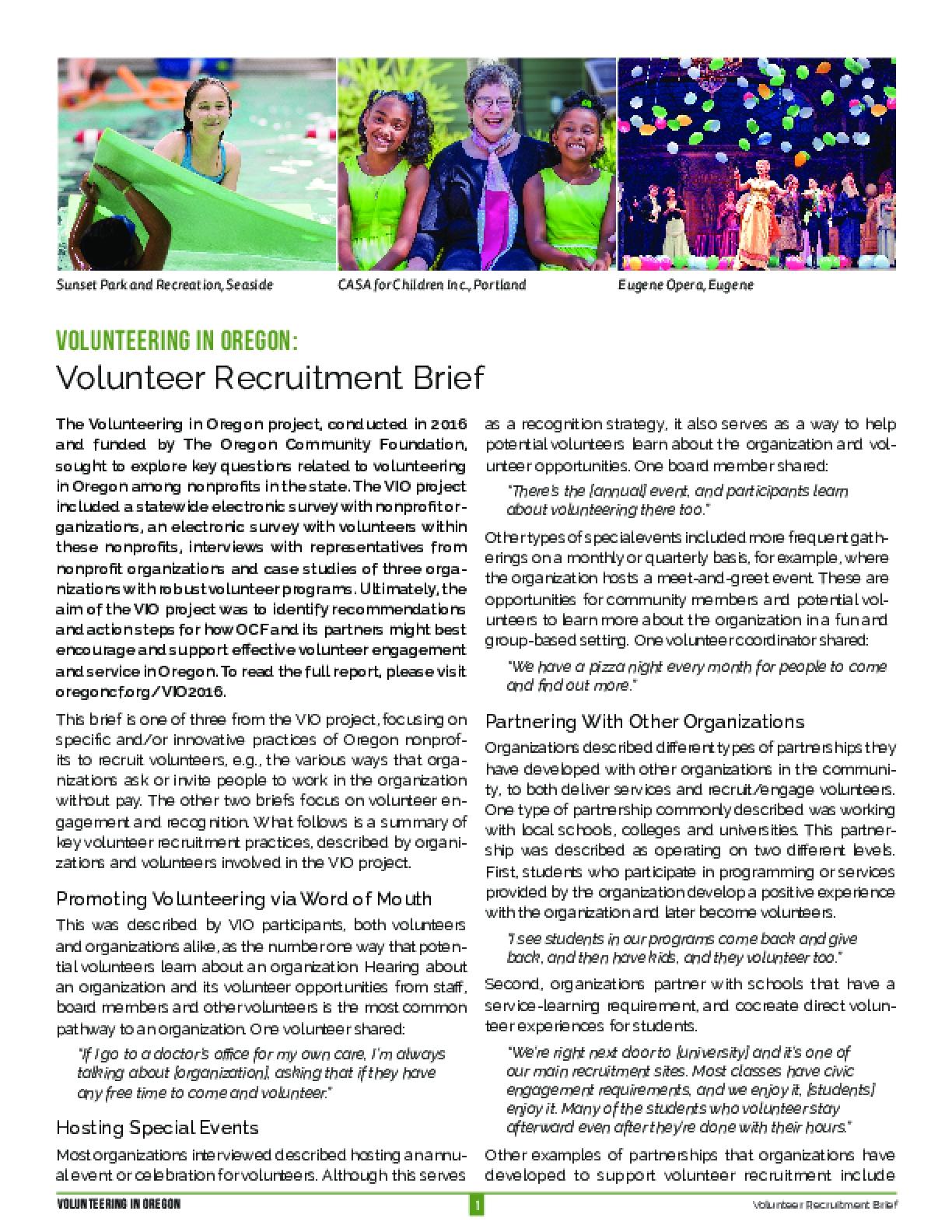 Volunteering in Oregon: Volunteer Recruitment Brief