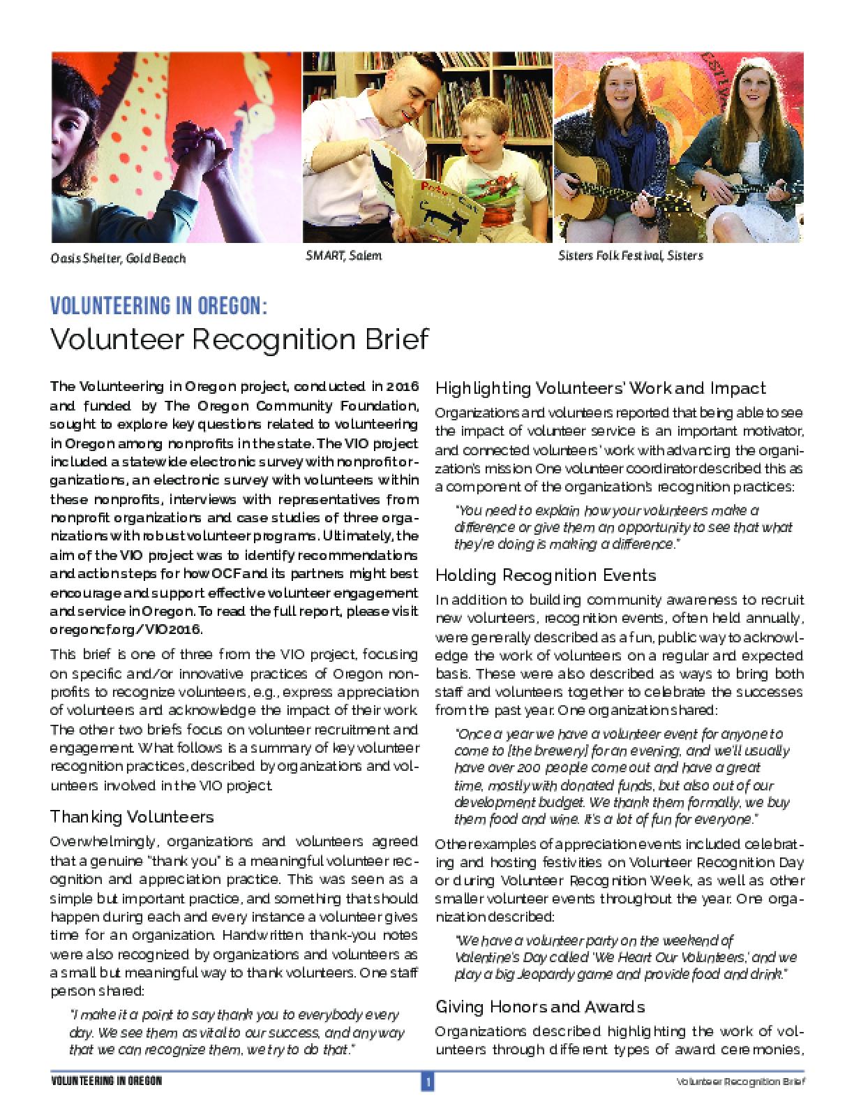 Volunteering in Oregon: Volunteer Recognition Brief