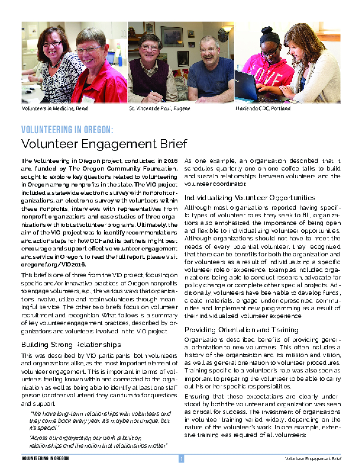 Volunteering in Oregon: Volunteer Engagement Brief