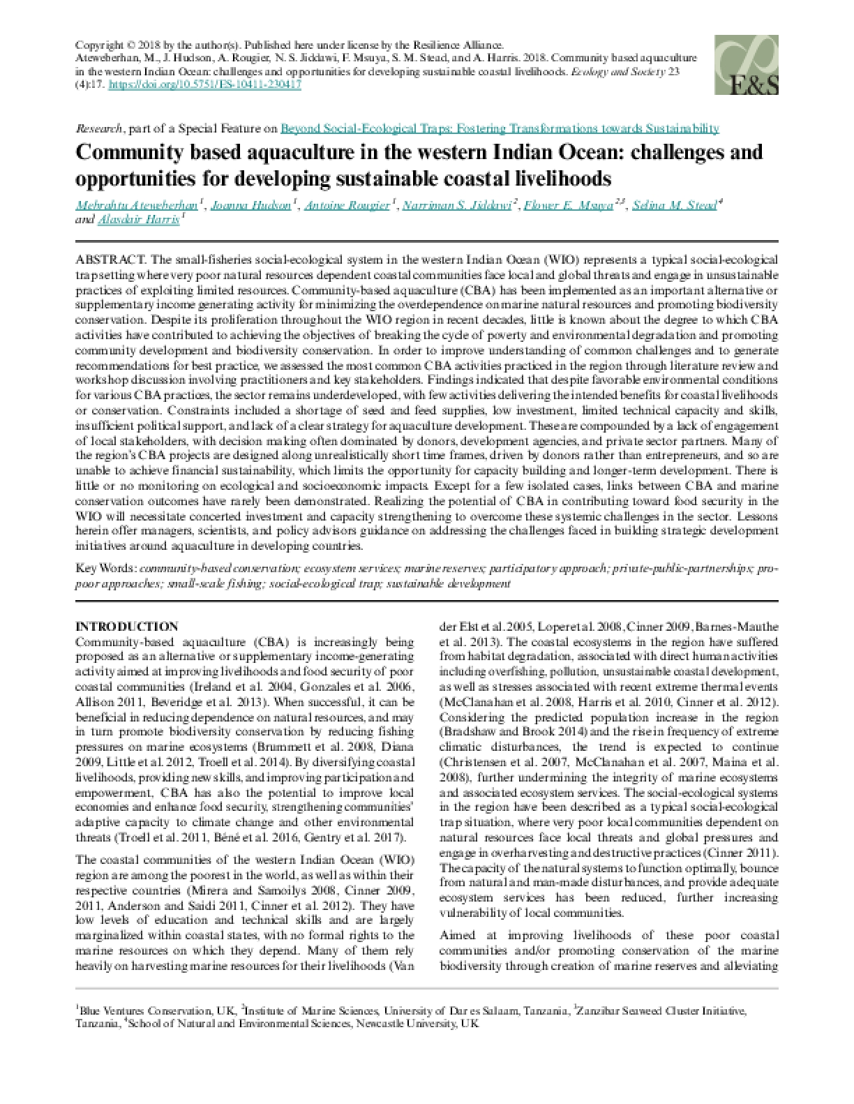 Community Based Aquaculture in the Western Indian Ocean: Challenges and Opportunities for Developing Sustainable Coastal Livelihoods
