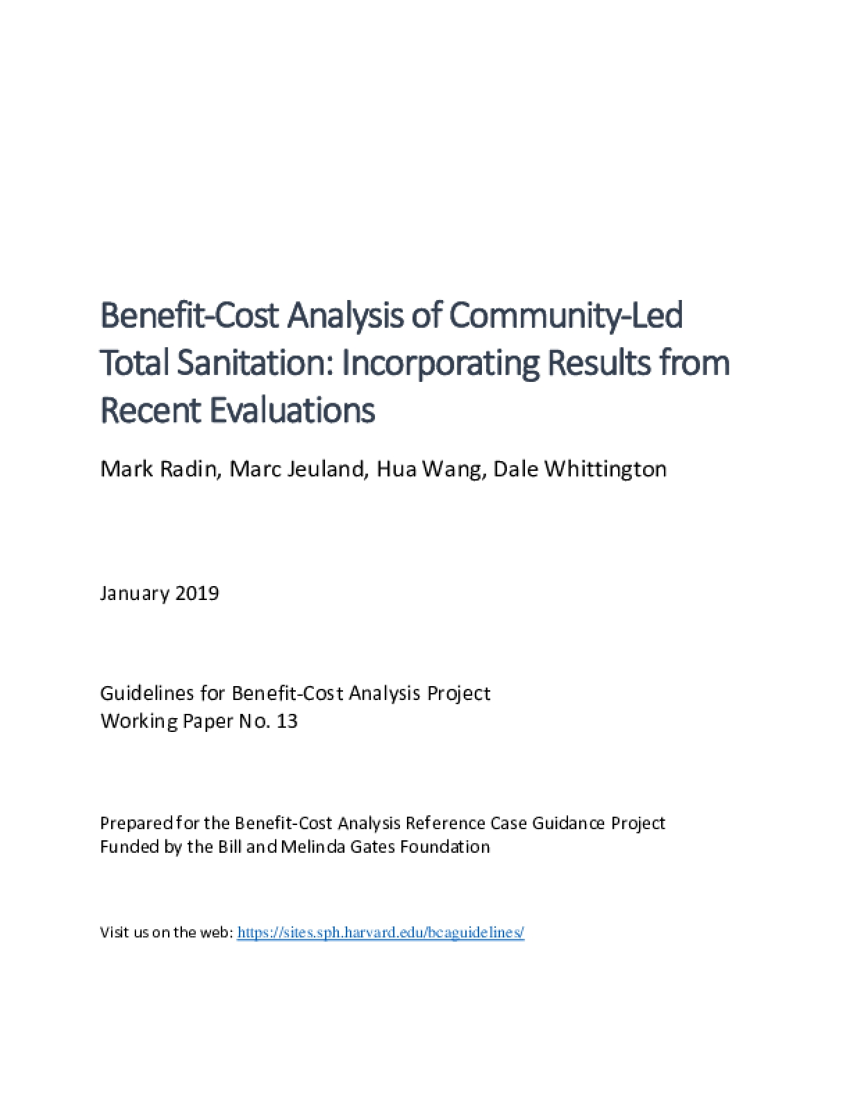 Benefit-Cost Analysis of Community-Led  Total Sanitation: Incorporating Results from  Recent Evaluations