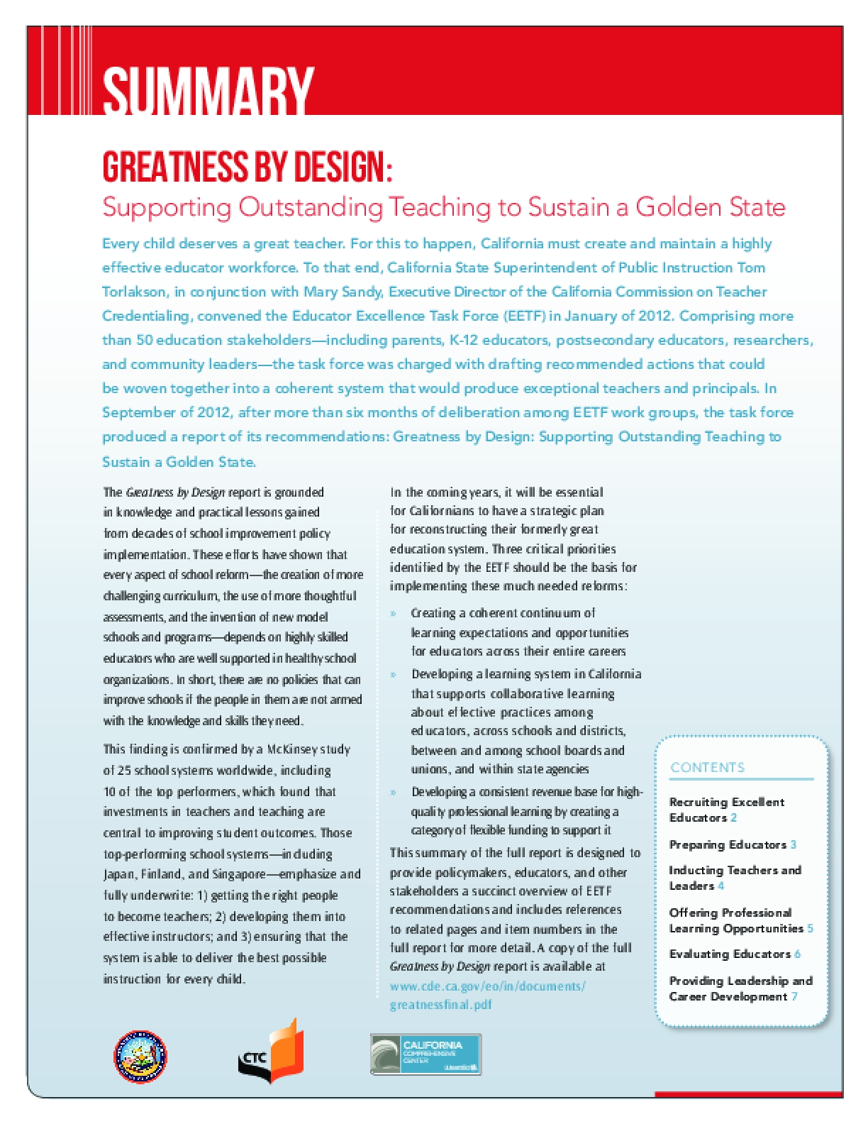 Greatness by Design: Supporting Outstanding Teaching to Sustain a Golden State