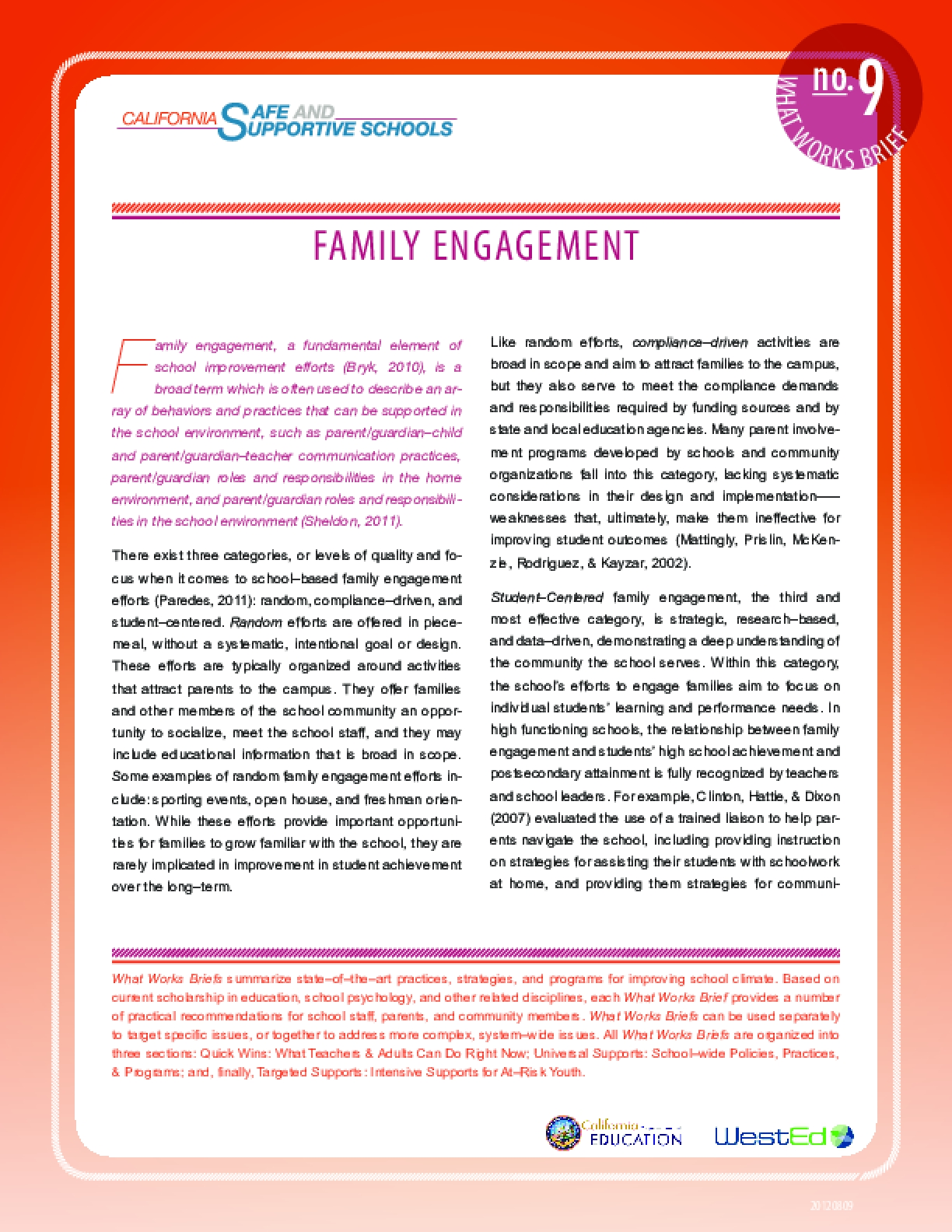 What Works Brief #9: Family Engagement