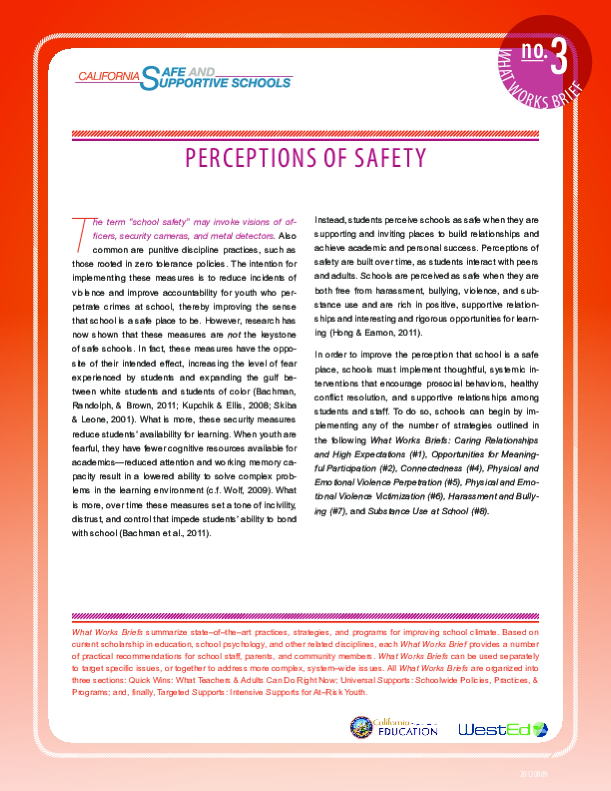 What Works Brief #3: Perceptions of Safety
