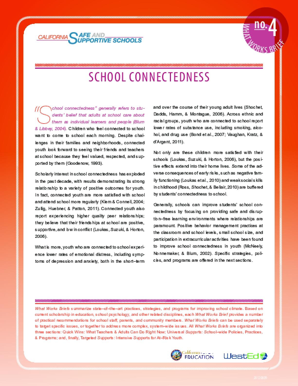 What Works Brief #4: School Connectedness