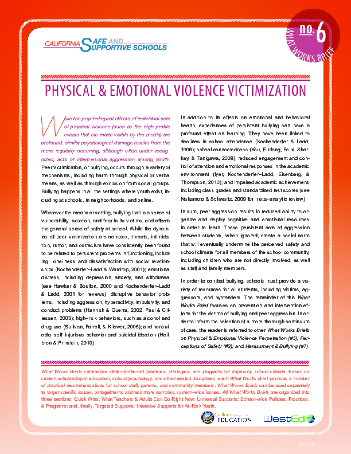 What Works Brief #6: Physical and Emotional Violence Victimization