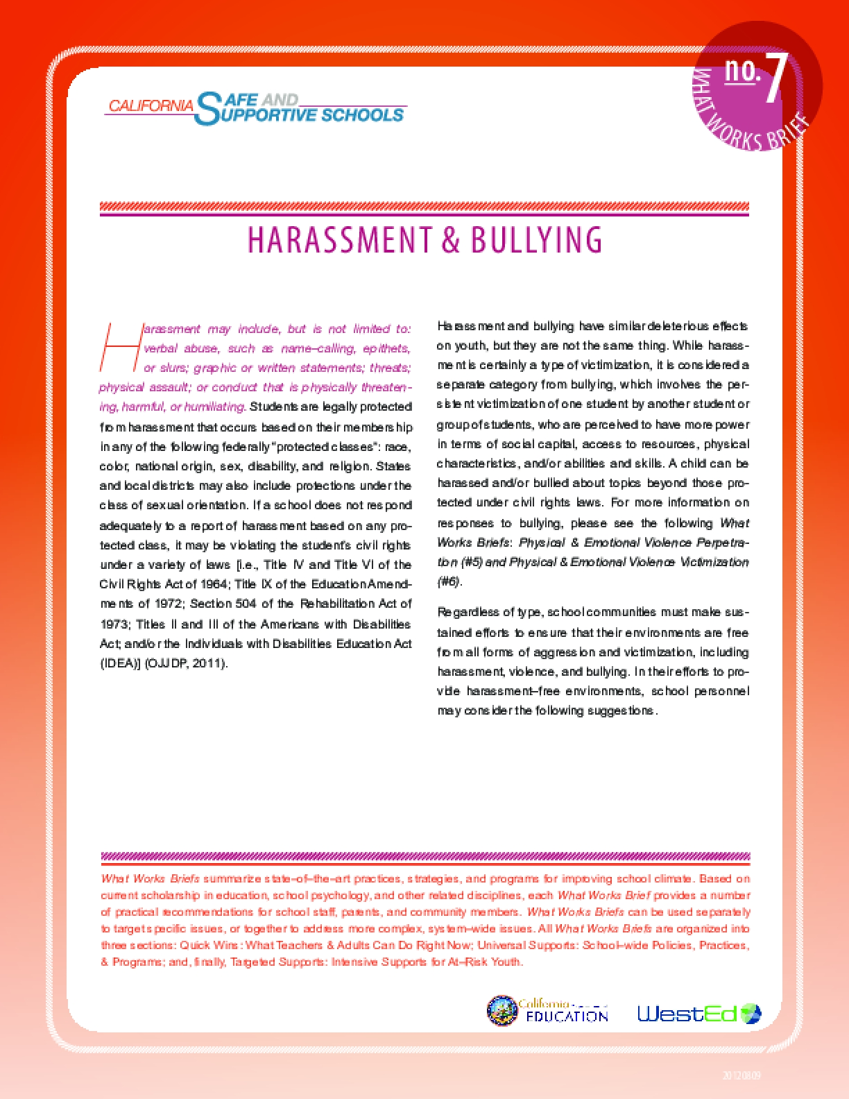 What Works Brief #7: Harassment and Bullying