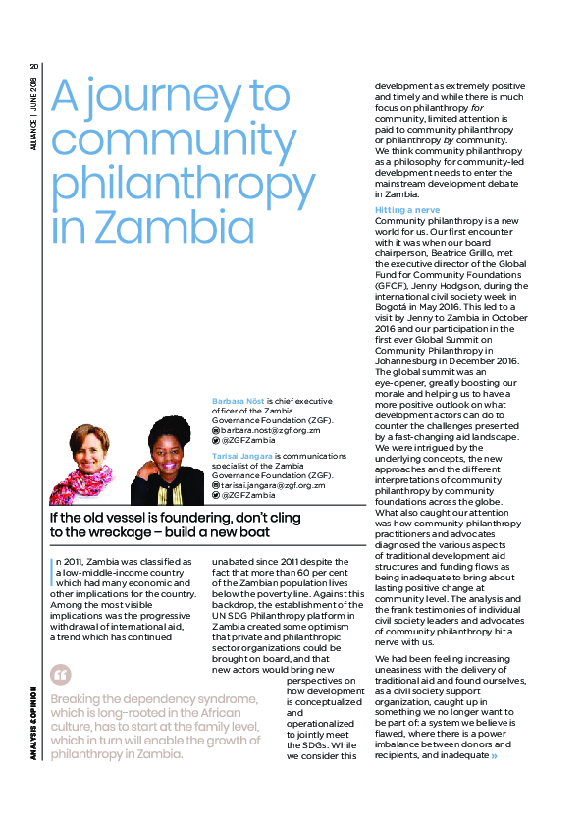 A journey to community philanthropy in Zambia