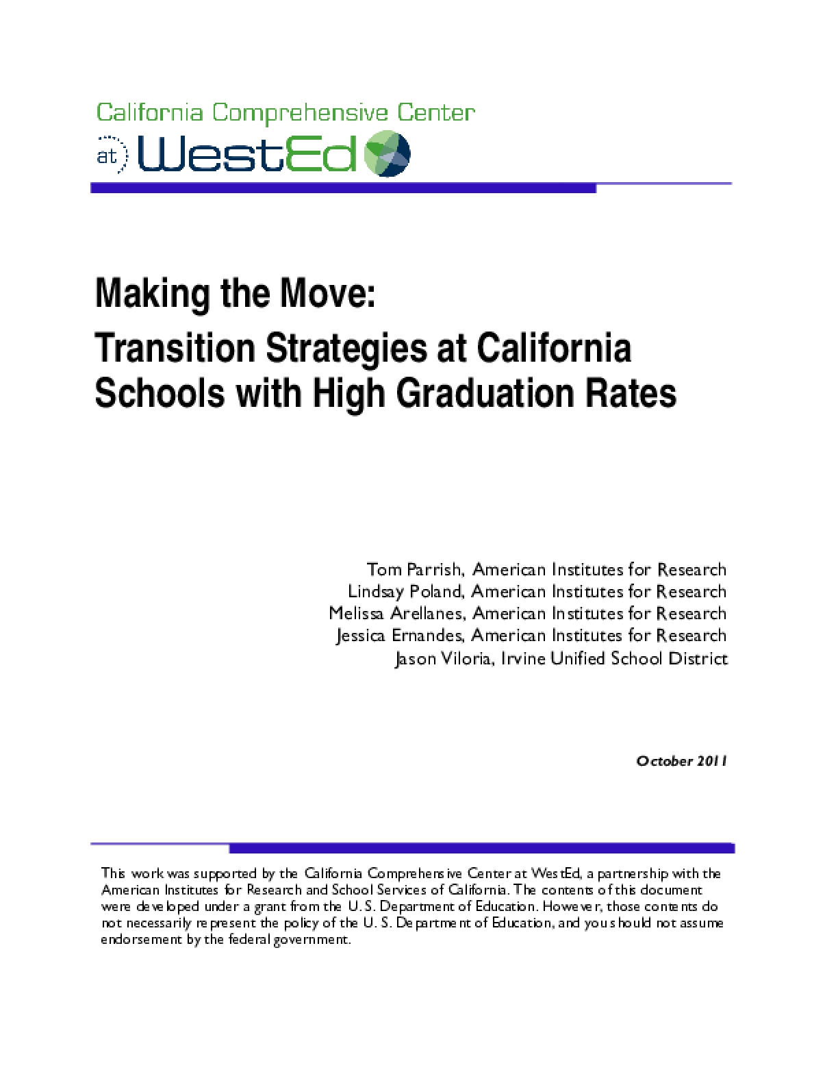 Making the Move: Transition Strategies at California Schools with High Graduation Rates