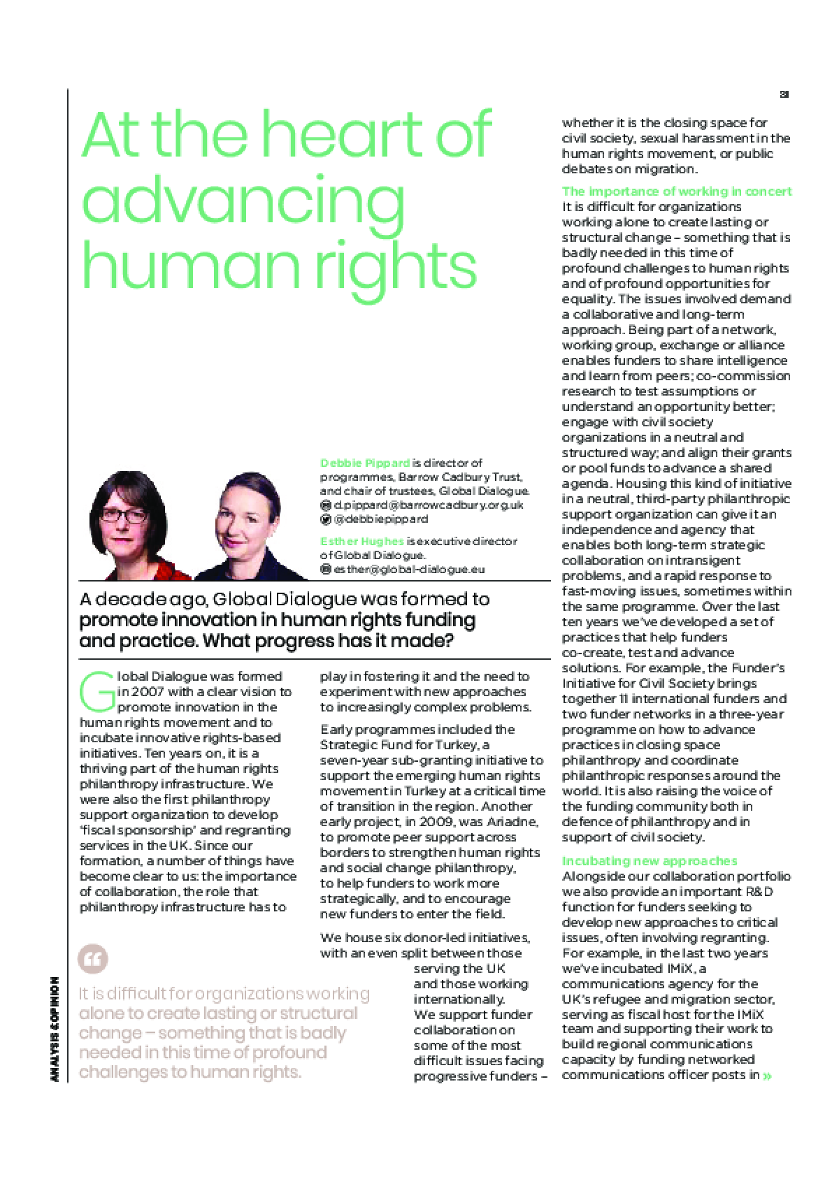 At the heart of advancing human rights