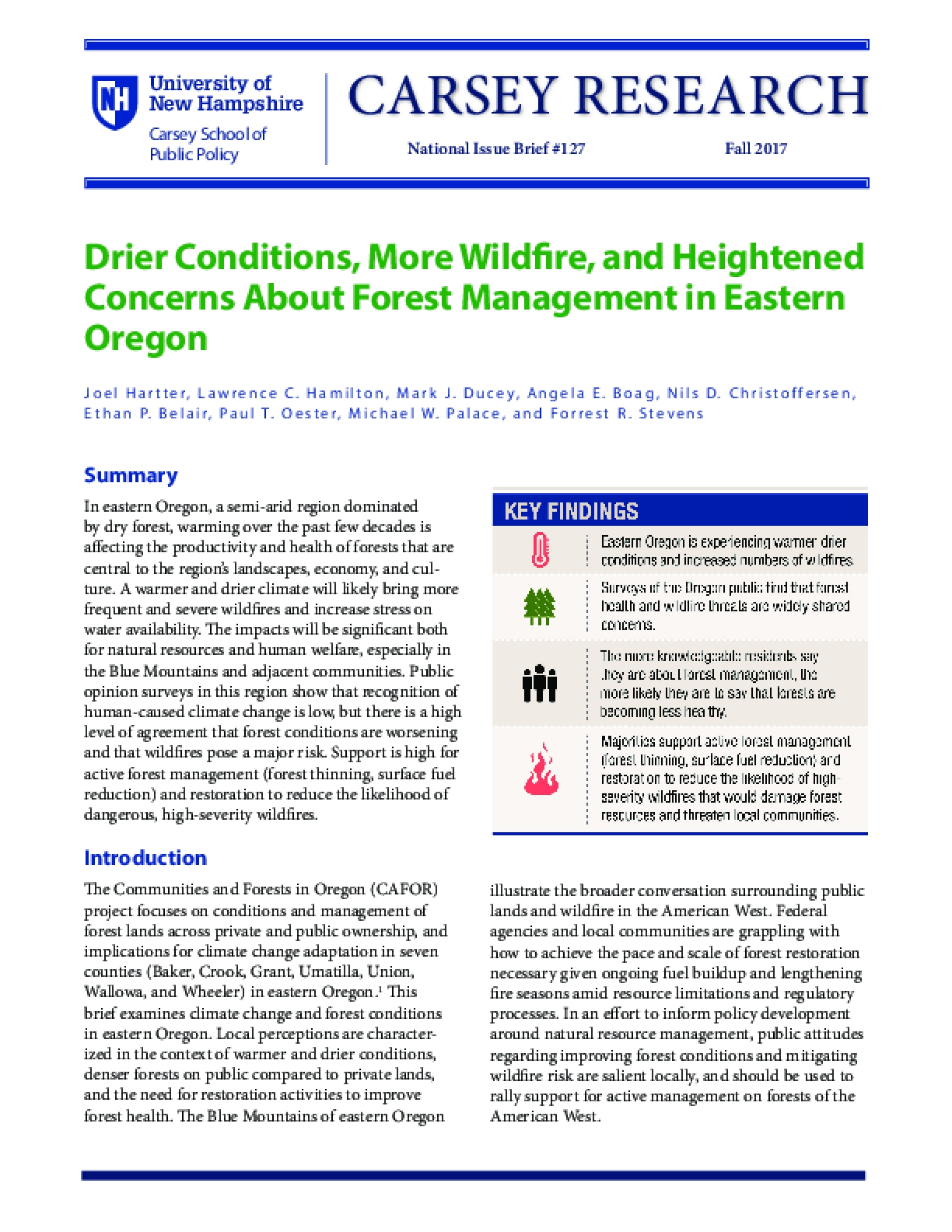 Drier Conditions, More Wildfire, and Heightened Concerns About Forest Management in Eastern Oregon