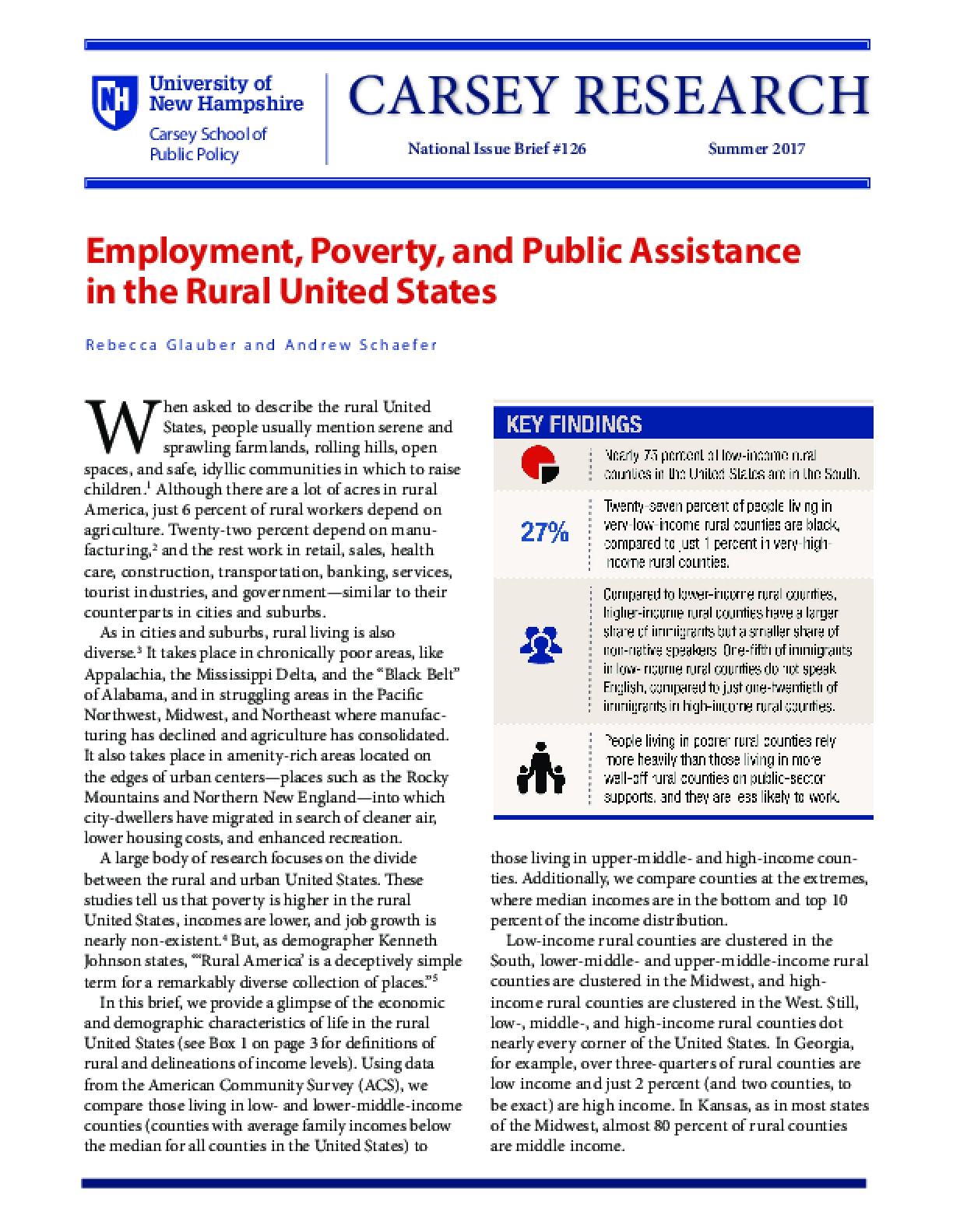 Employment, Poverty, and Public Assistance in the Rural United States