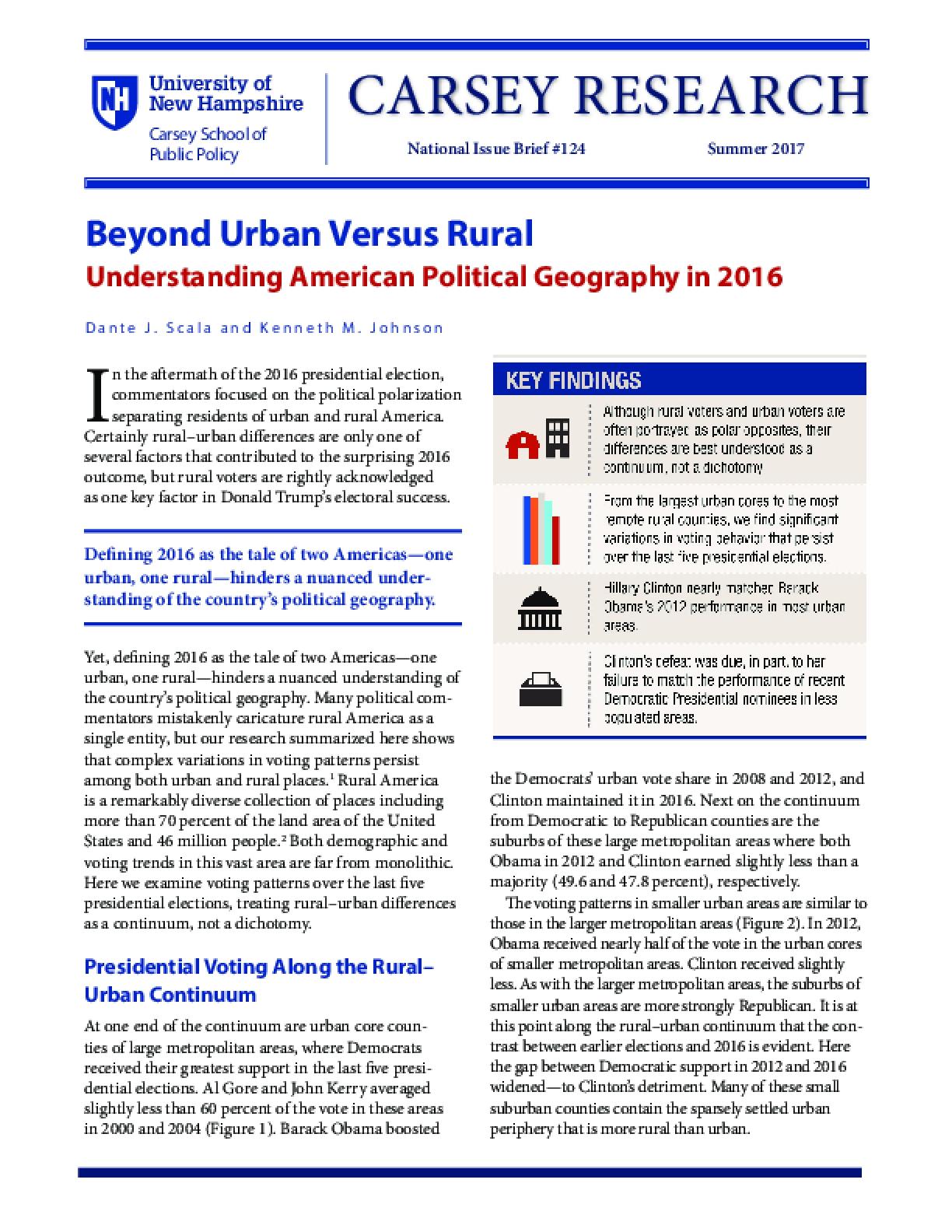 Beyond Urban Versus Rural: Understanding American Political Geography in 2016