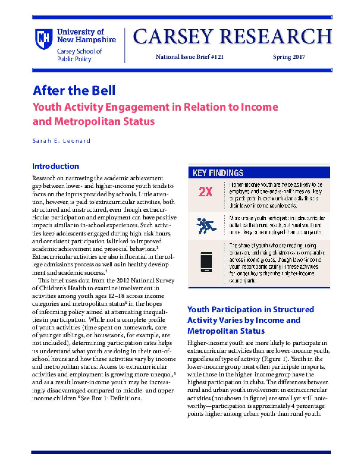 After the Bell: Youth Activity Engagement in Relation to Income and Metropolitan Status