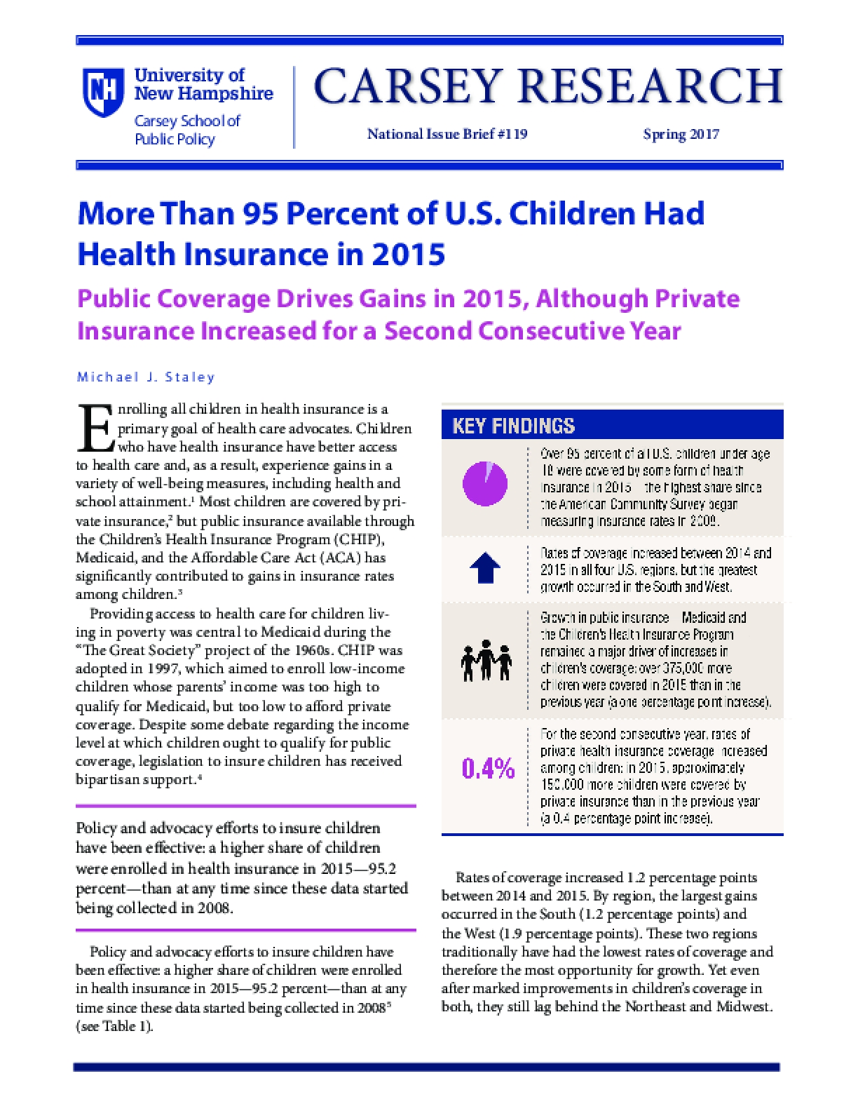 More Than 95 Percent of U.S. Children Had Health Insurance in 2015
