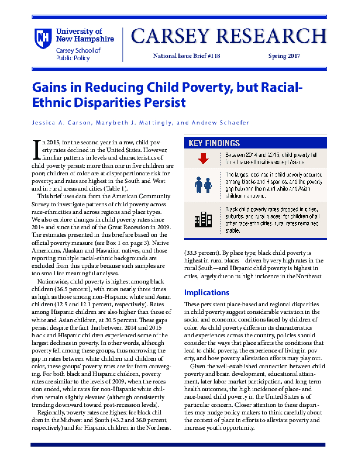 Gains in Reducing Child Poverty, but Racial-Ethnic Disparities Persist
