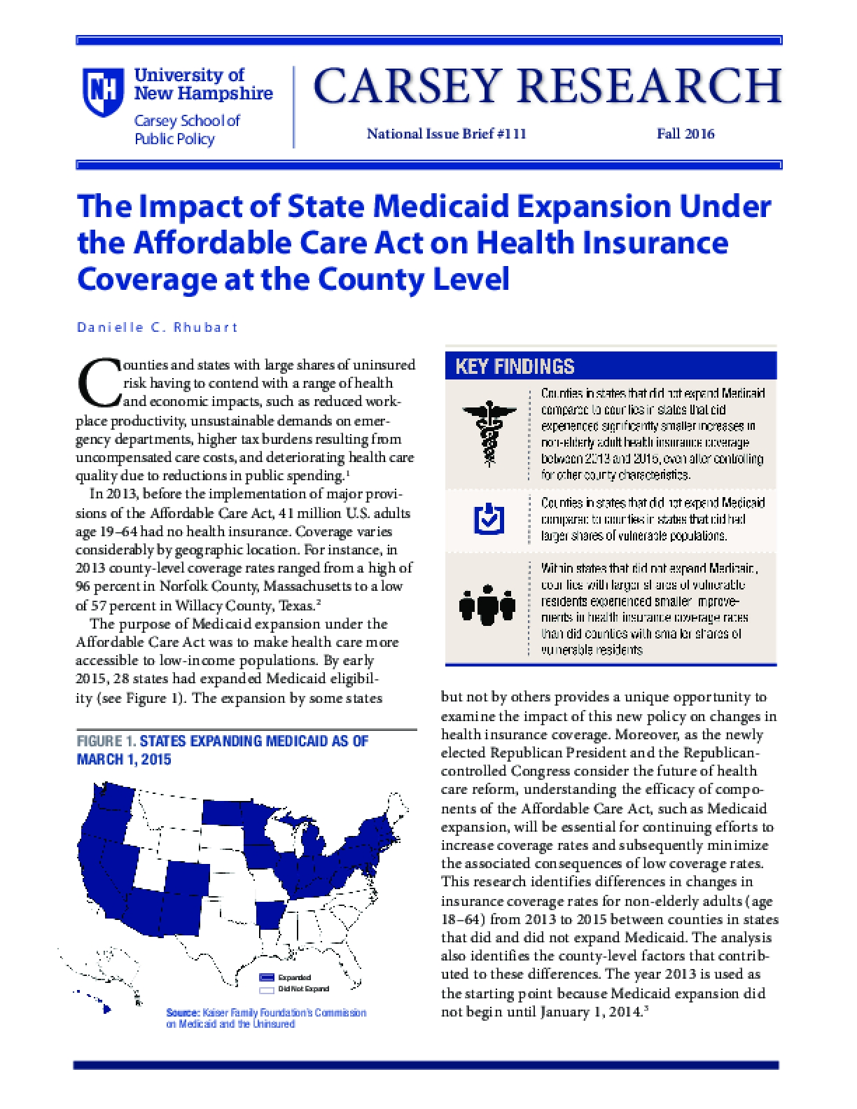 The Impact of State Medicaid Expansion Under the Affordable Care Act on Health Insurance Coverage at the County Level