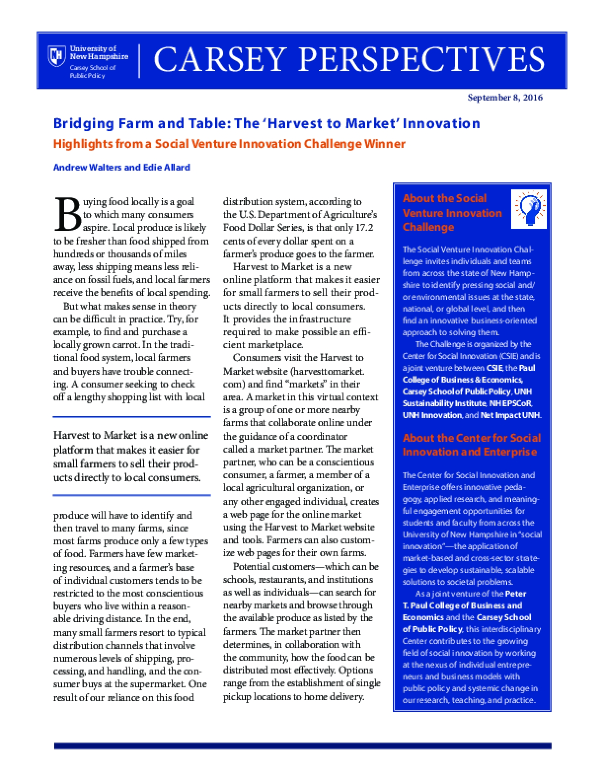 Carsey Perspectives: Bridging Farm and Table: The 'Harvest to Market' Innovation