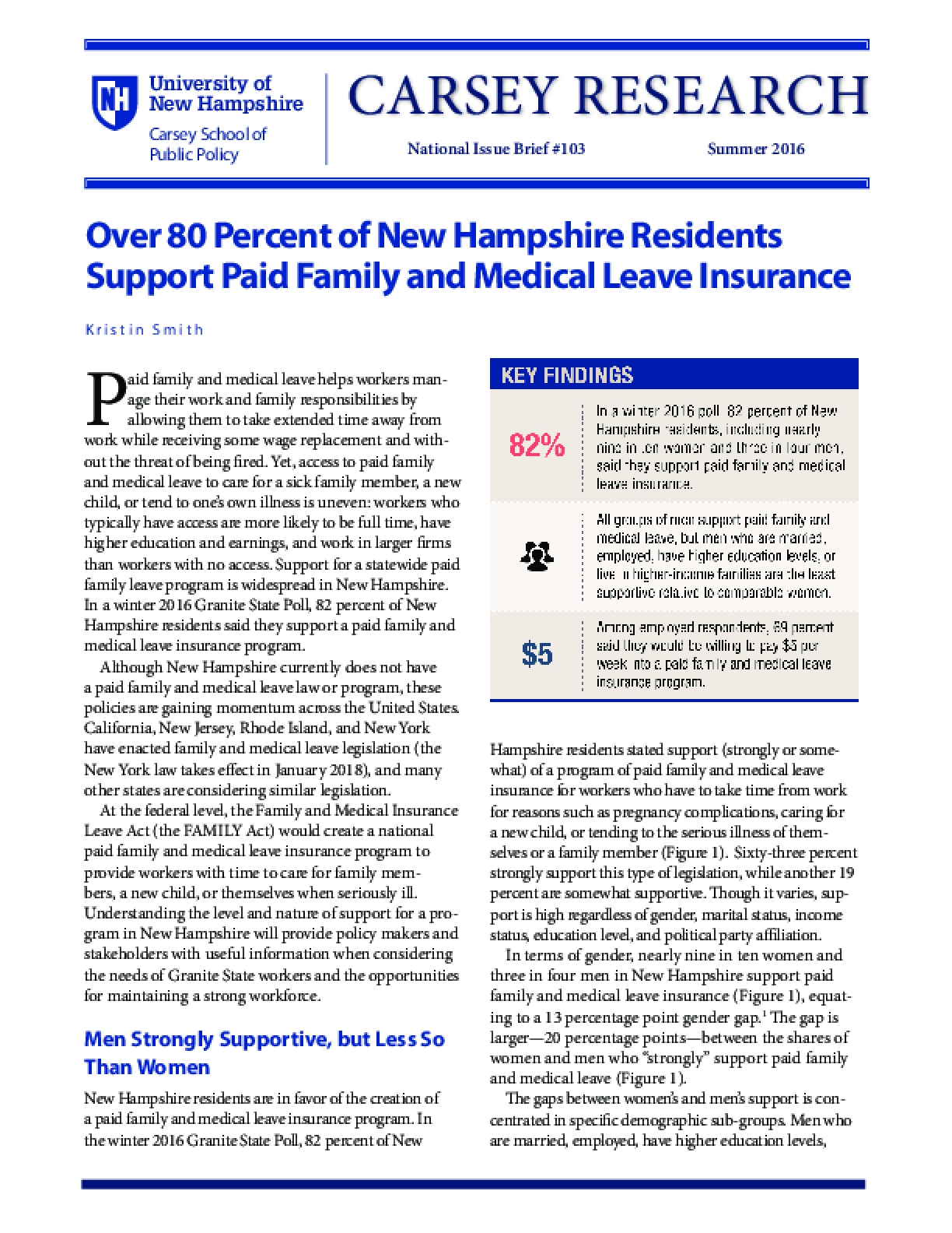 Over 80 Percent of New Hampshire Residents Support Paid Family and Medical Leave Insurance