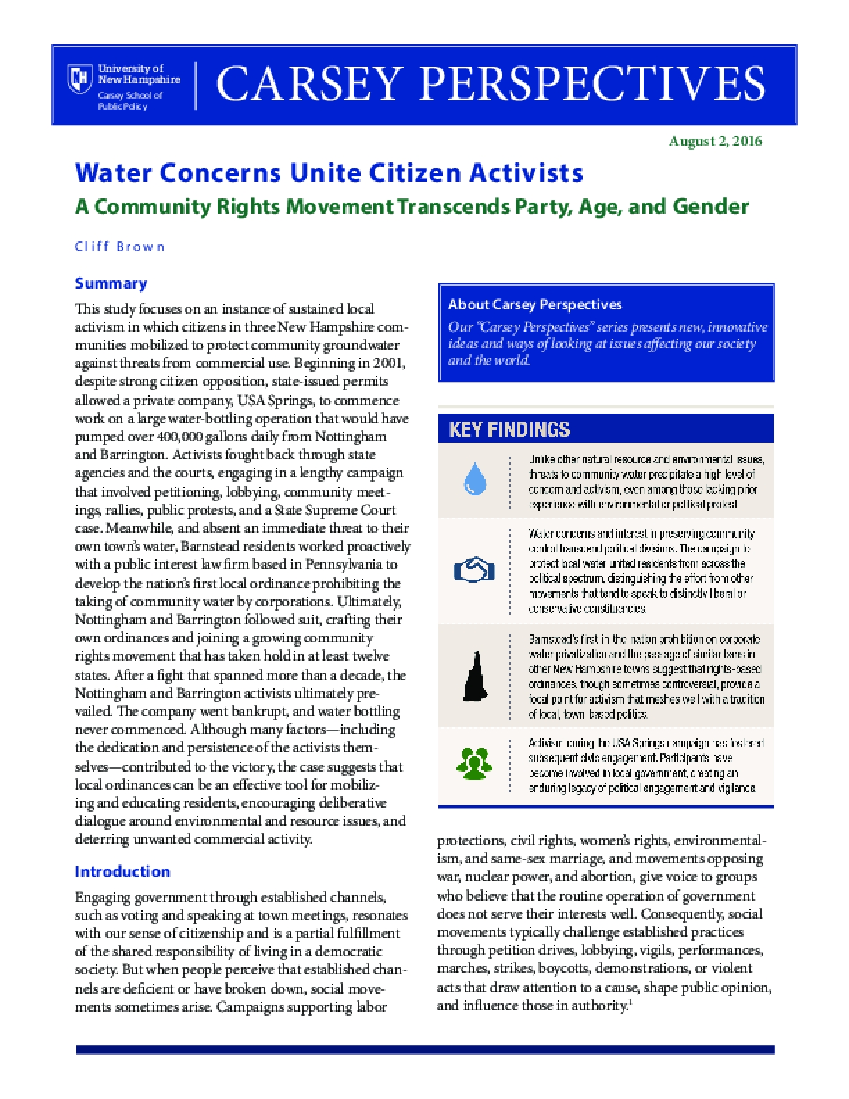 Carsey Perspectives: Water Concerns Unite Citizen Activists