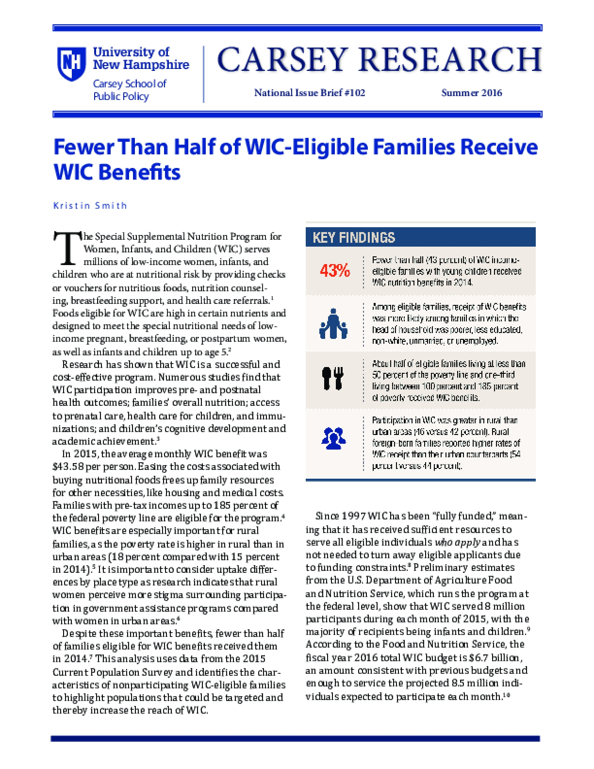 Fewer Than Half of WIC-Eligible Families Receive WIC Benefits