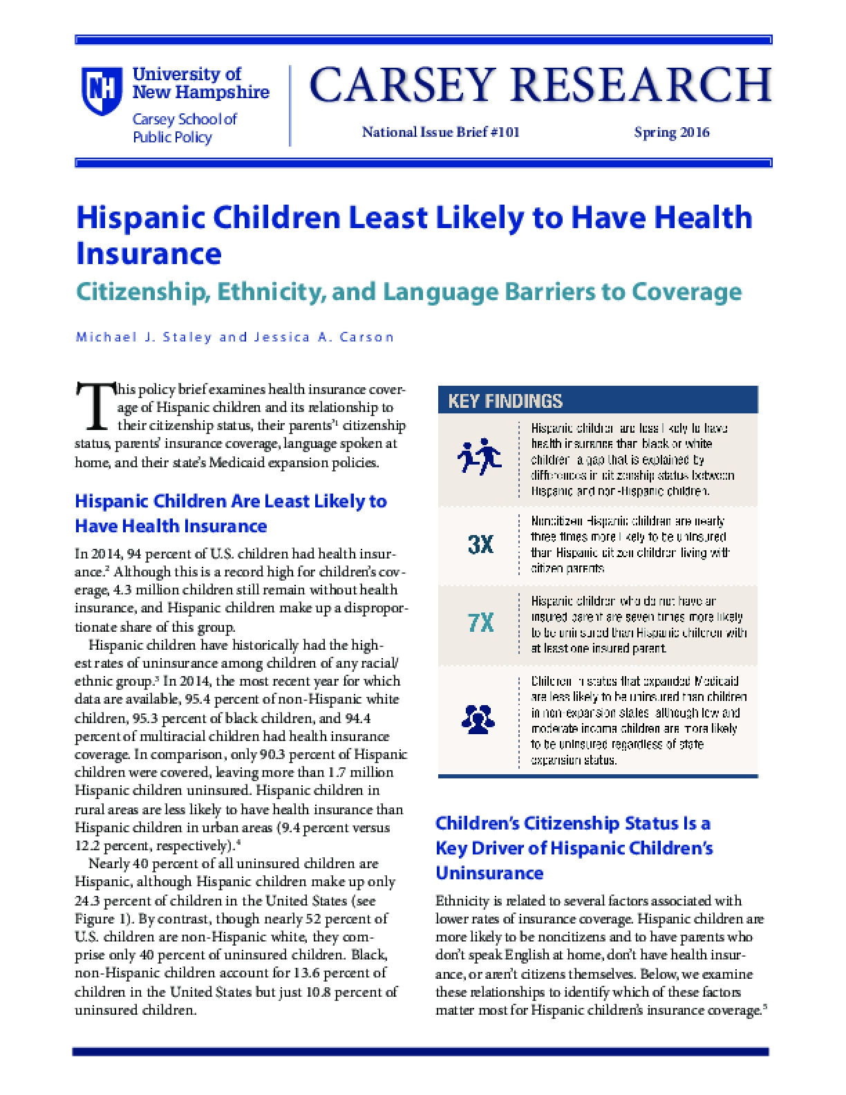 Hispanic Children Least Likely to Have Health Insurance